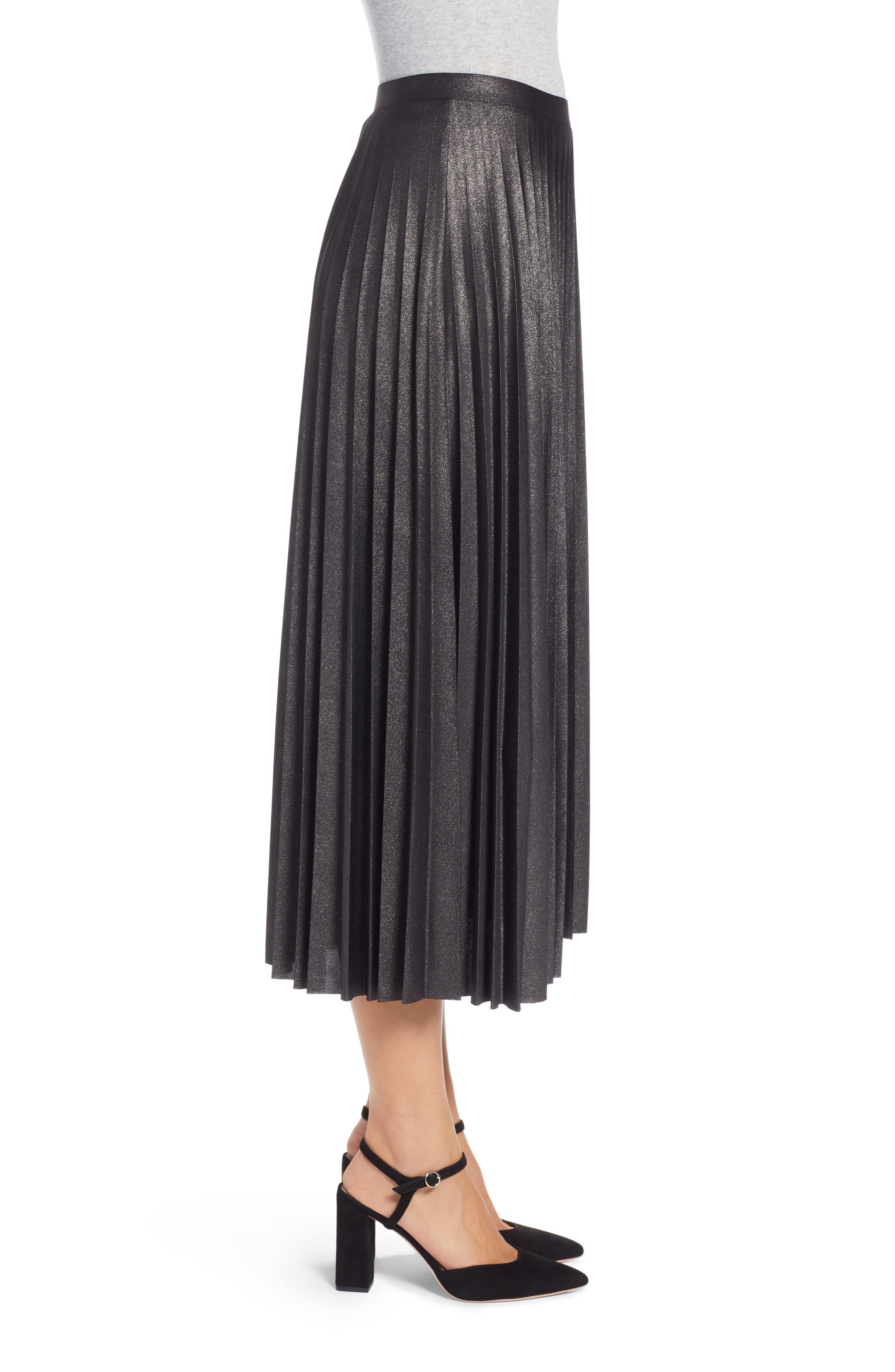 Metallic Pleat Midi Skirt,                             Alternate thumbnail 3, color,                             BLACK FOIL