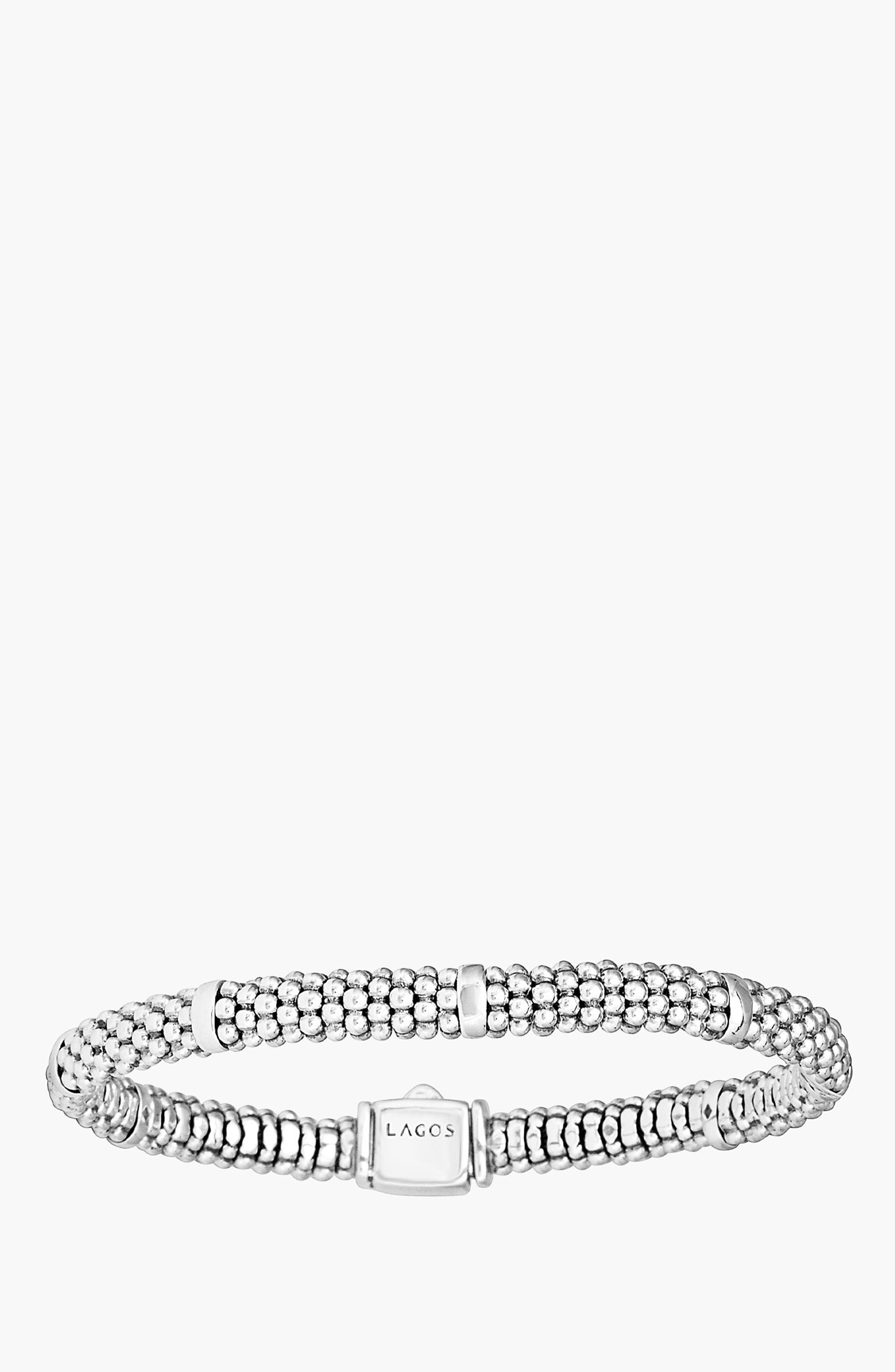 LAGOS,                             Caviar Rope Station Bracelet,                             Alternate thumbnail 3, color,                             STERLING SILVER