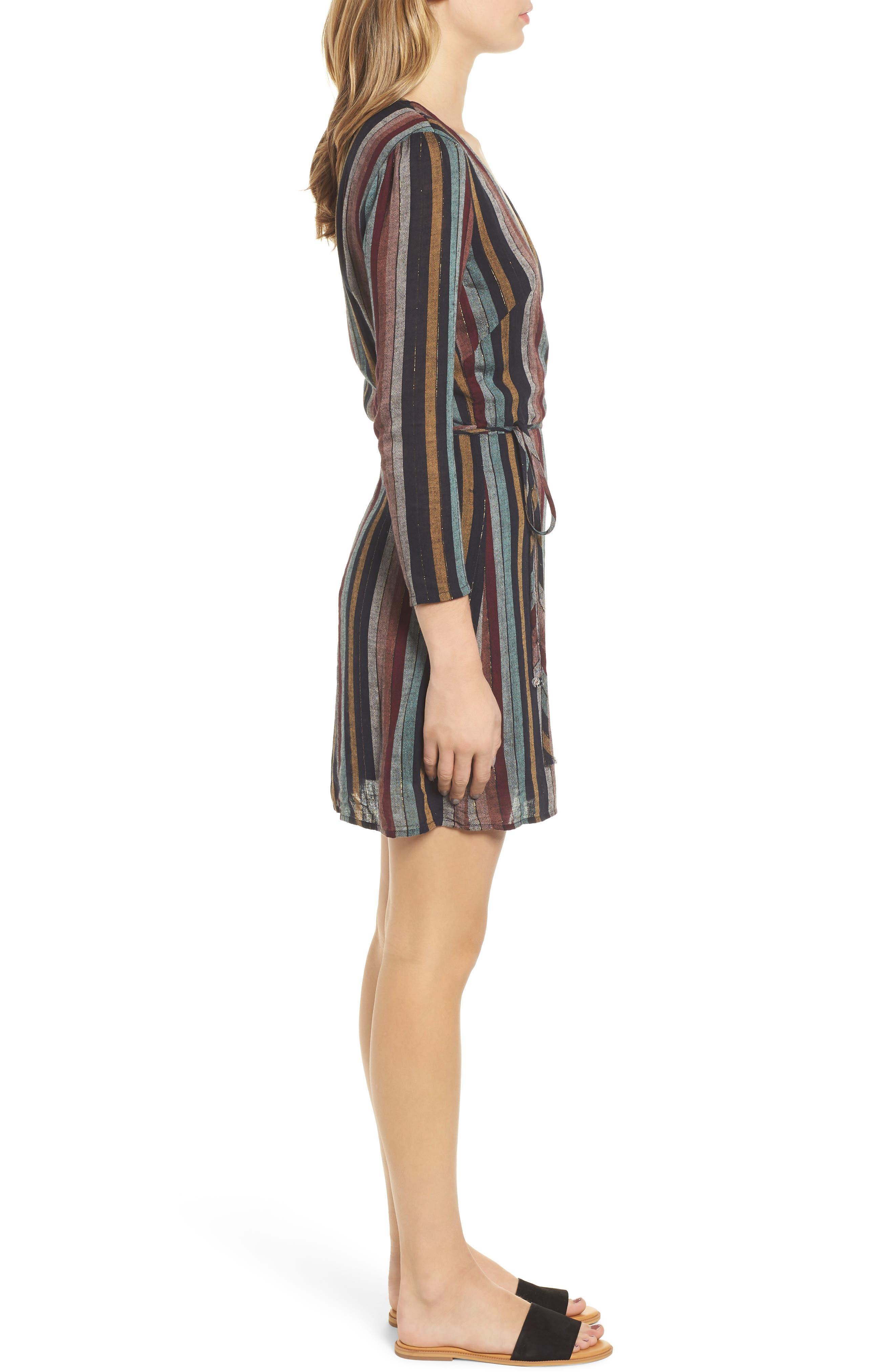 Lola Metallic Wrap Dress,                             Alternate thumbnail 4, color,                             VARADERO STRIPE