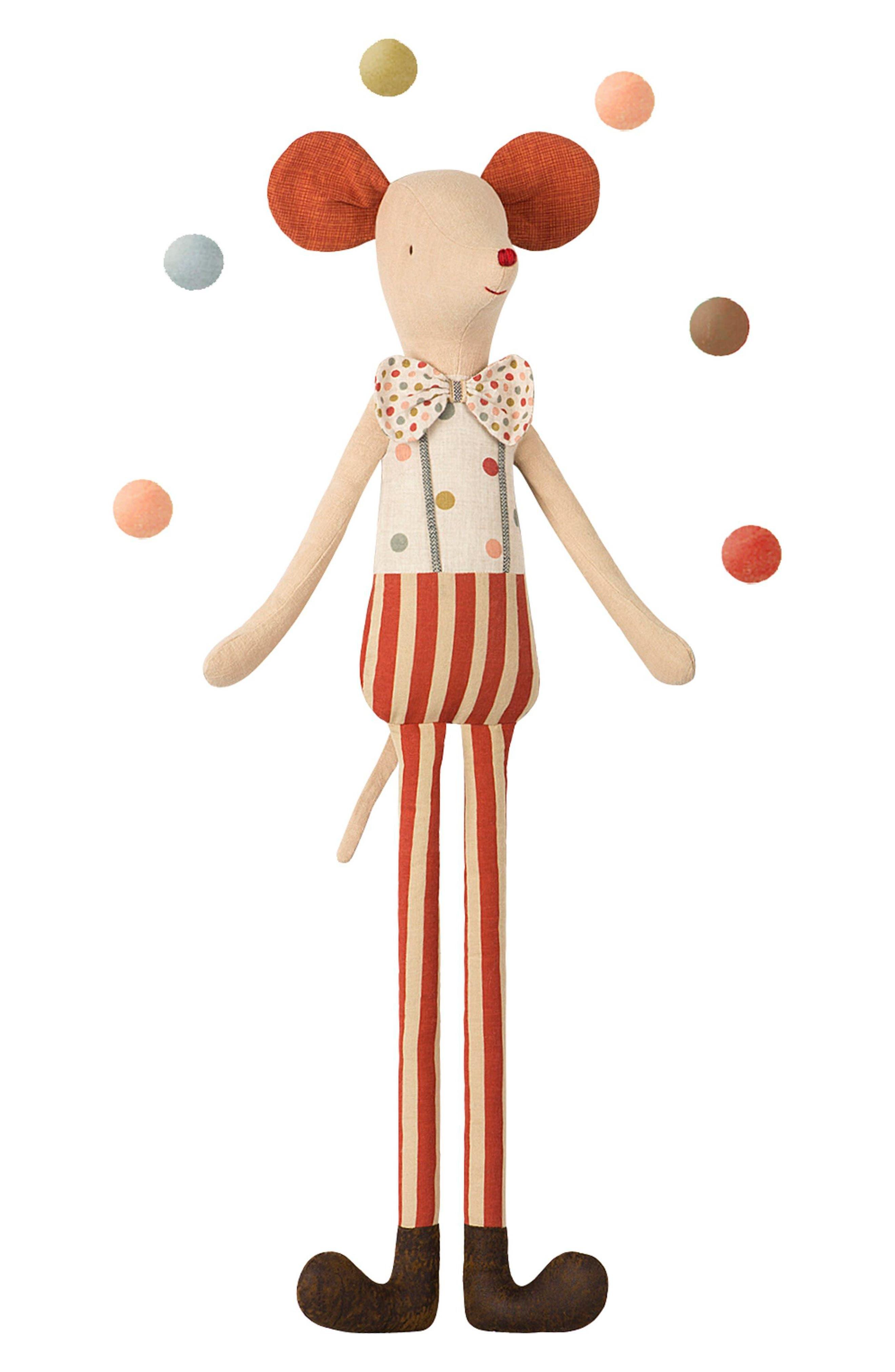 Circus Stiltclown Maxi Mouse Stuffed Animal,                         Main,                         color, MULTI COLOR