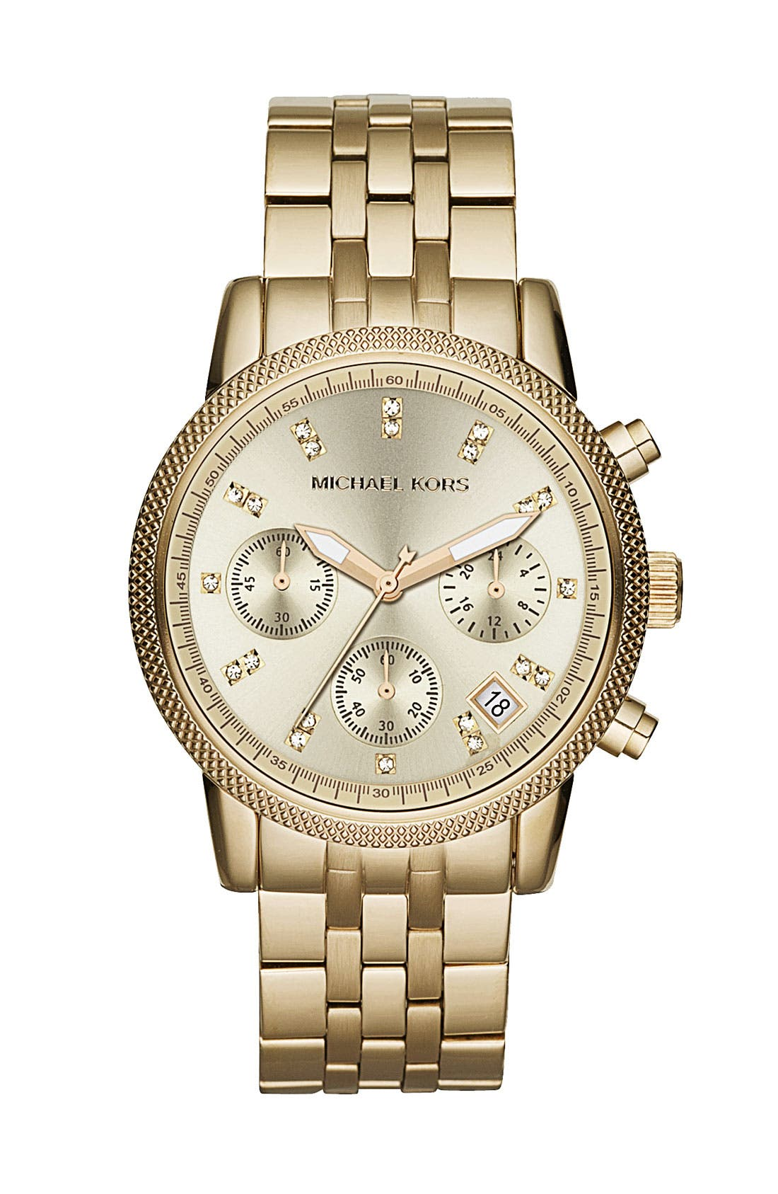 MICHAEL MICHAEL KORS,                             Michael Kors 'Ritz' Crystal Index Bracelet Watch,                             Main thumbnail 1, color,                             710