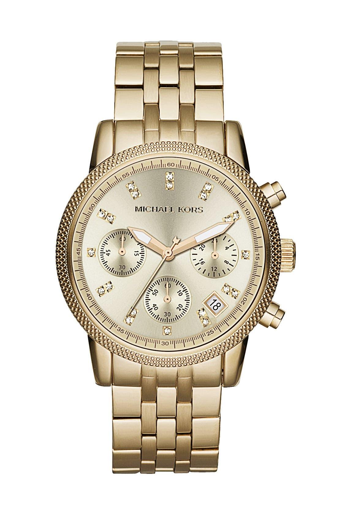 MICHAEL MICHAEL KORS Michael Kors 'Ritz' Crystal Index Bracelet Watch, Main, color, 710
