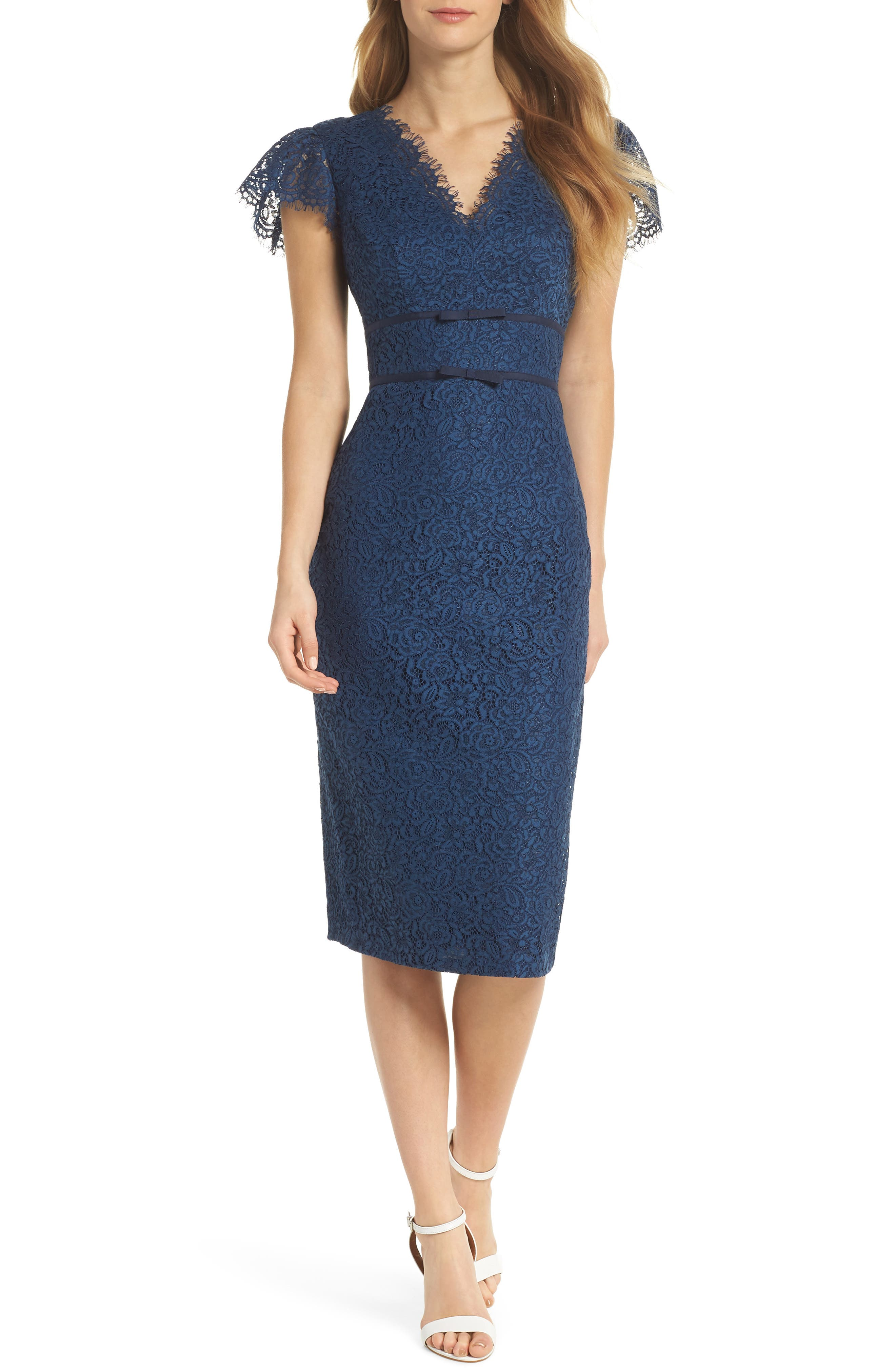 Ginger Rosebud Lace Sheath Dress,                         Main,                         color, 462