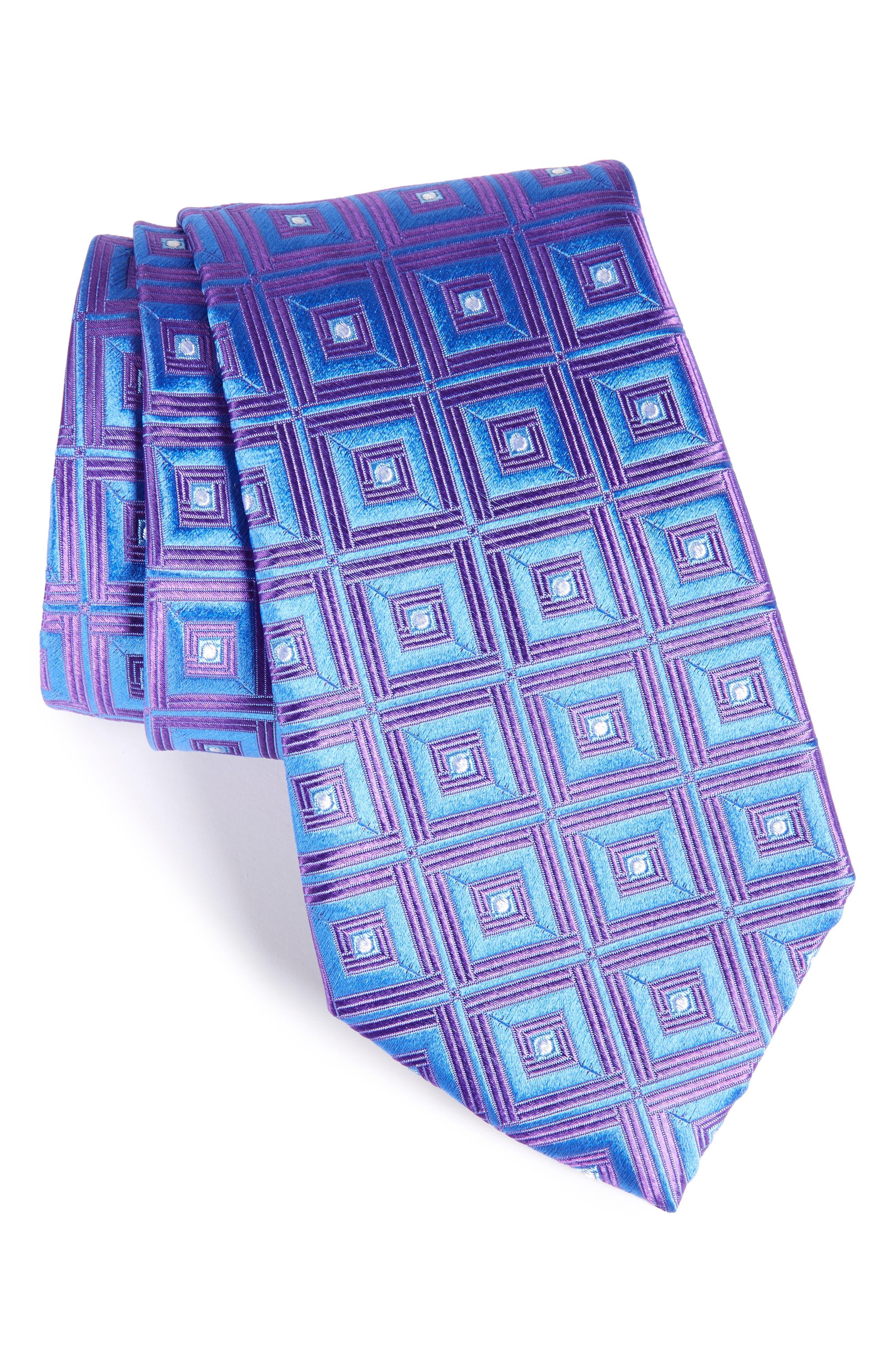 Frame Diamonds Silk Tie,                             Main thumbnail 2, color,