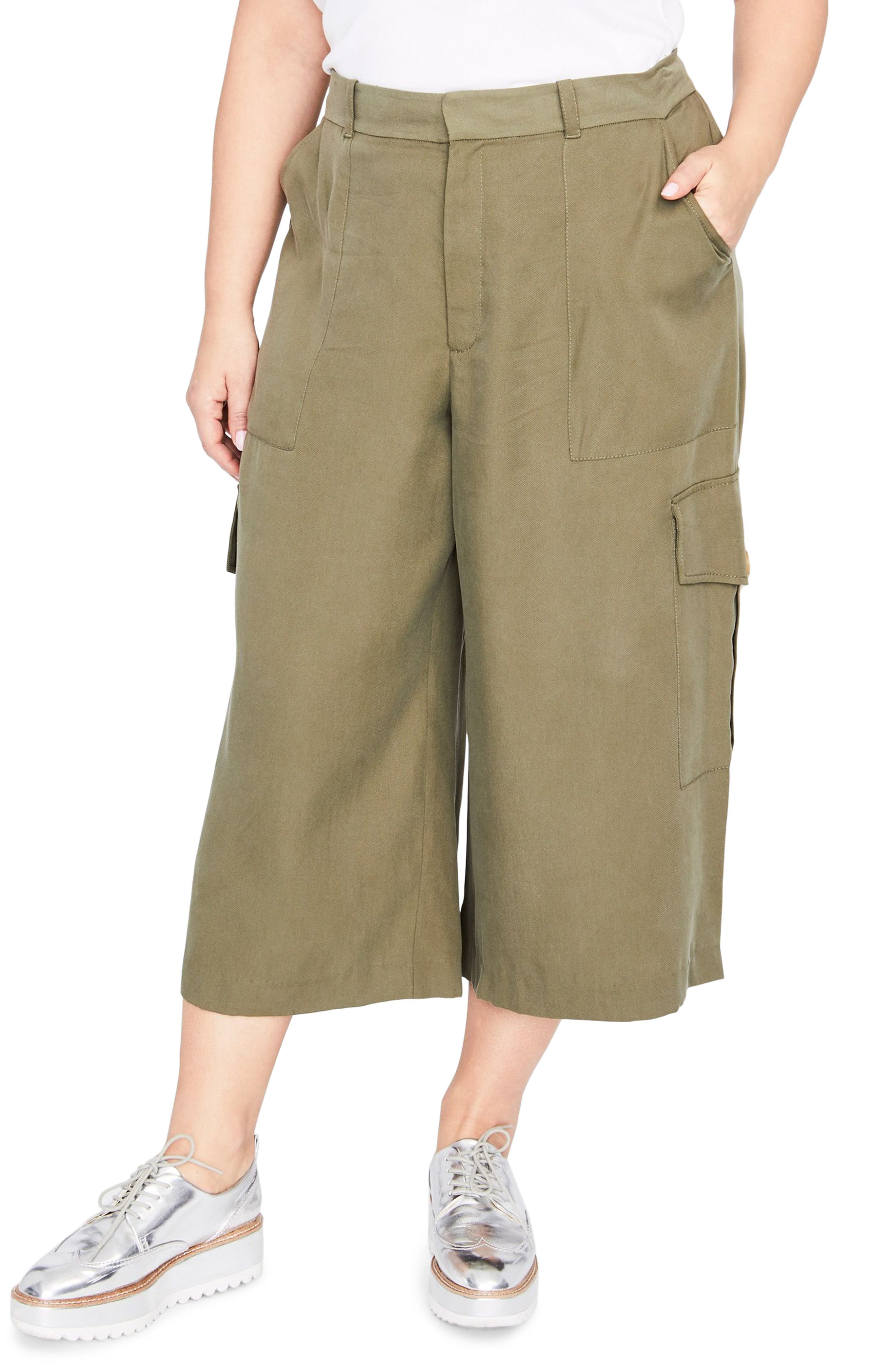 Crop Cargo Pants,                         Main,                         color, ARMY GREEN
