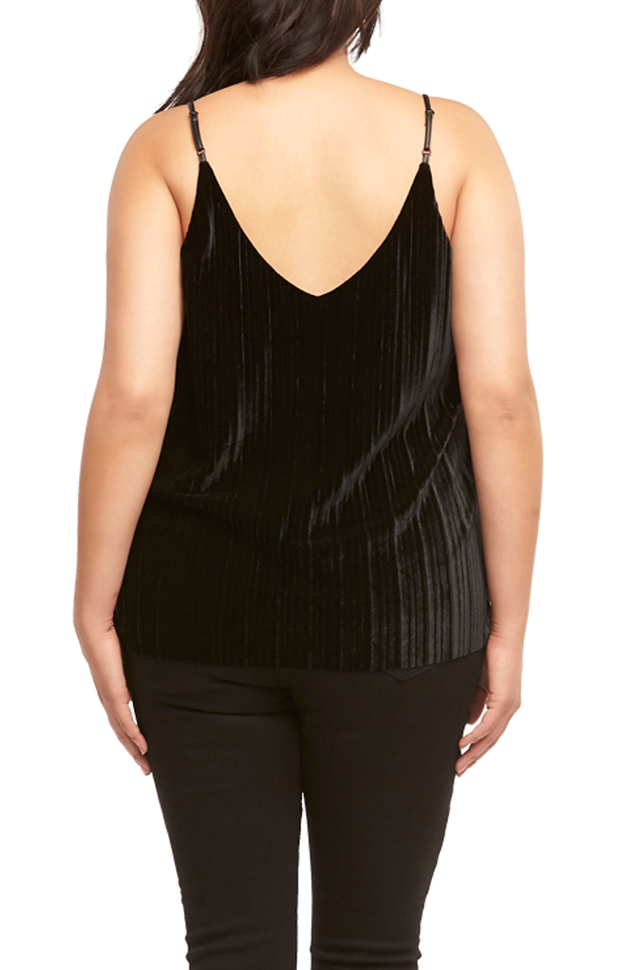 Maren Pleat Velvet Camisole,                             Alternate thumbnail 2, color,                             BLACK