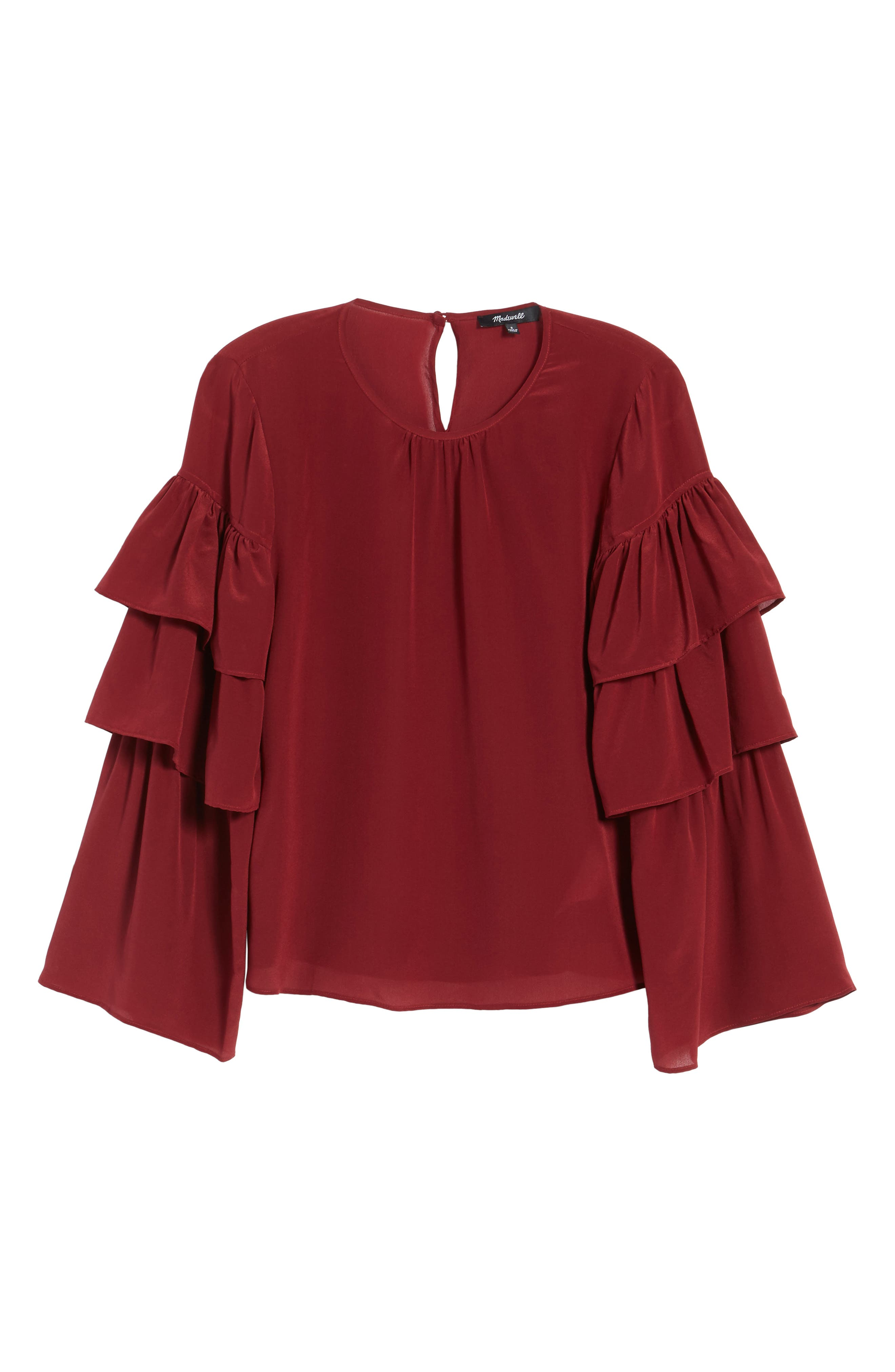 Ruffle Sleeve Silk Top,                             Alternate thumbnail 6, color,