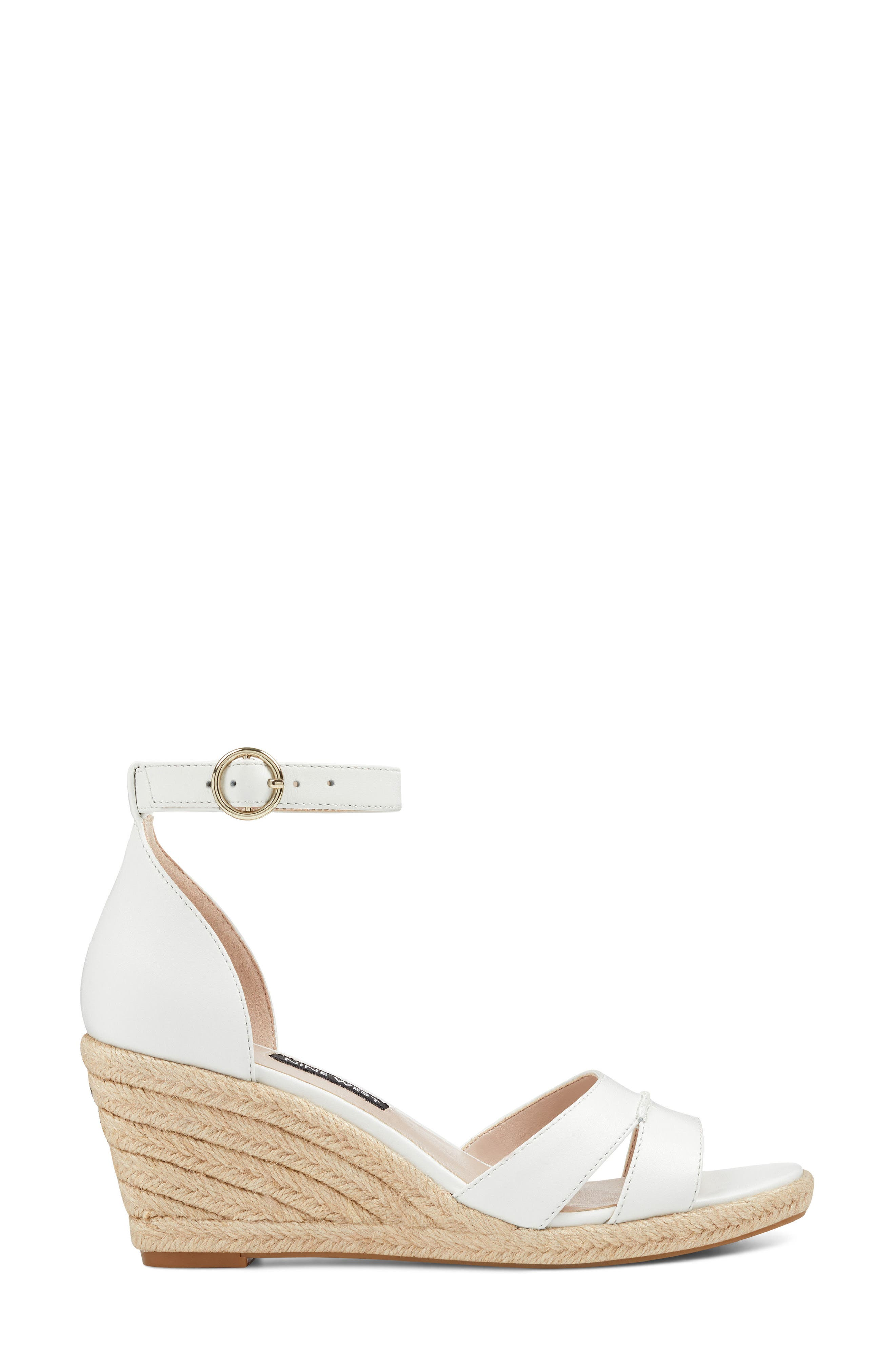 Jeranna Espadrille Wedge Sandal,                             Alternate thumbnail 3, color,                             WHITE LEATHER