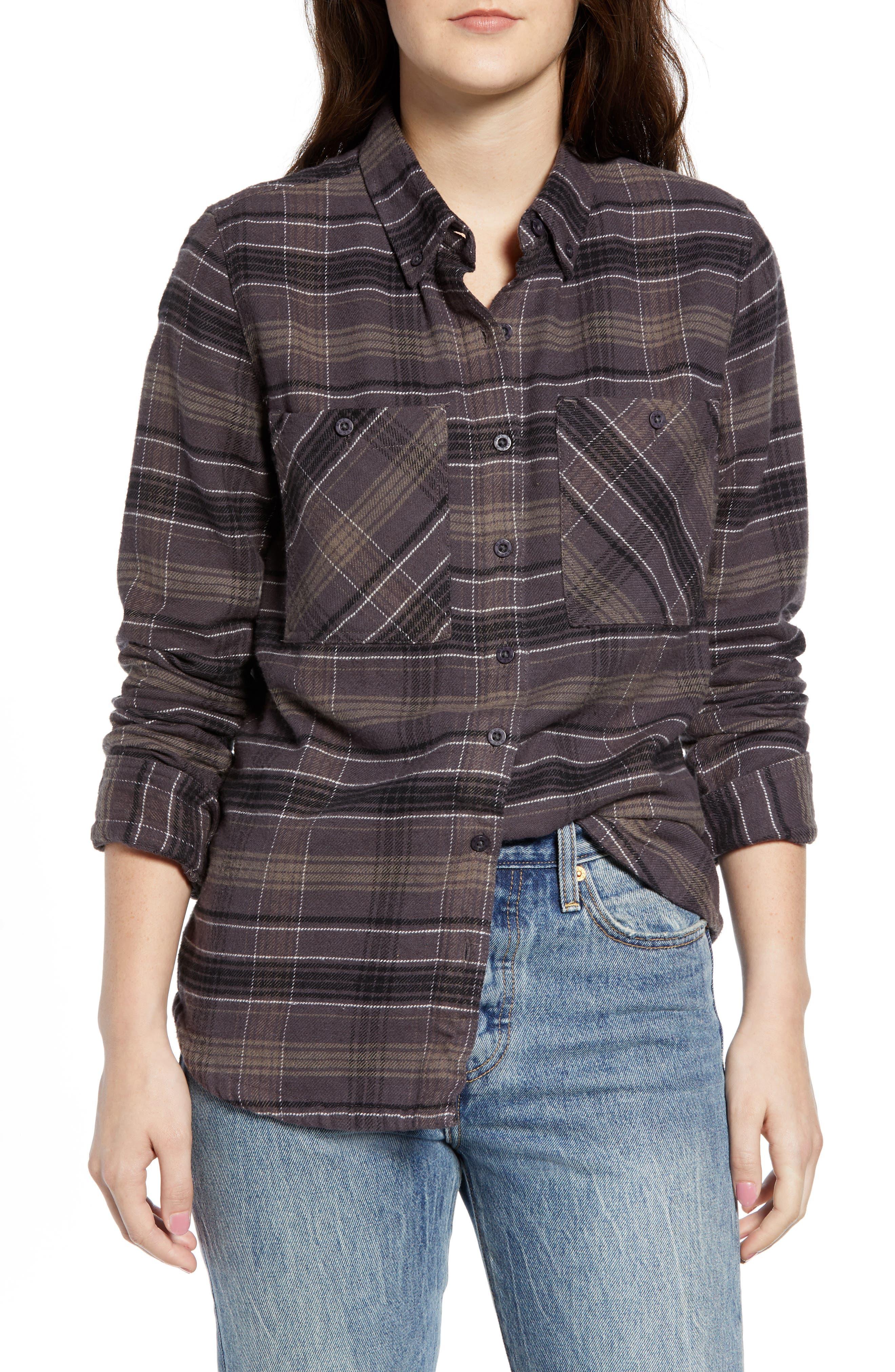 Rvca Roam Plaid Flannel Shirt, Black