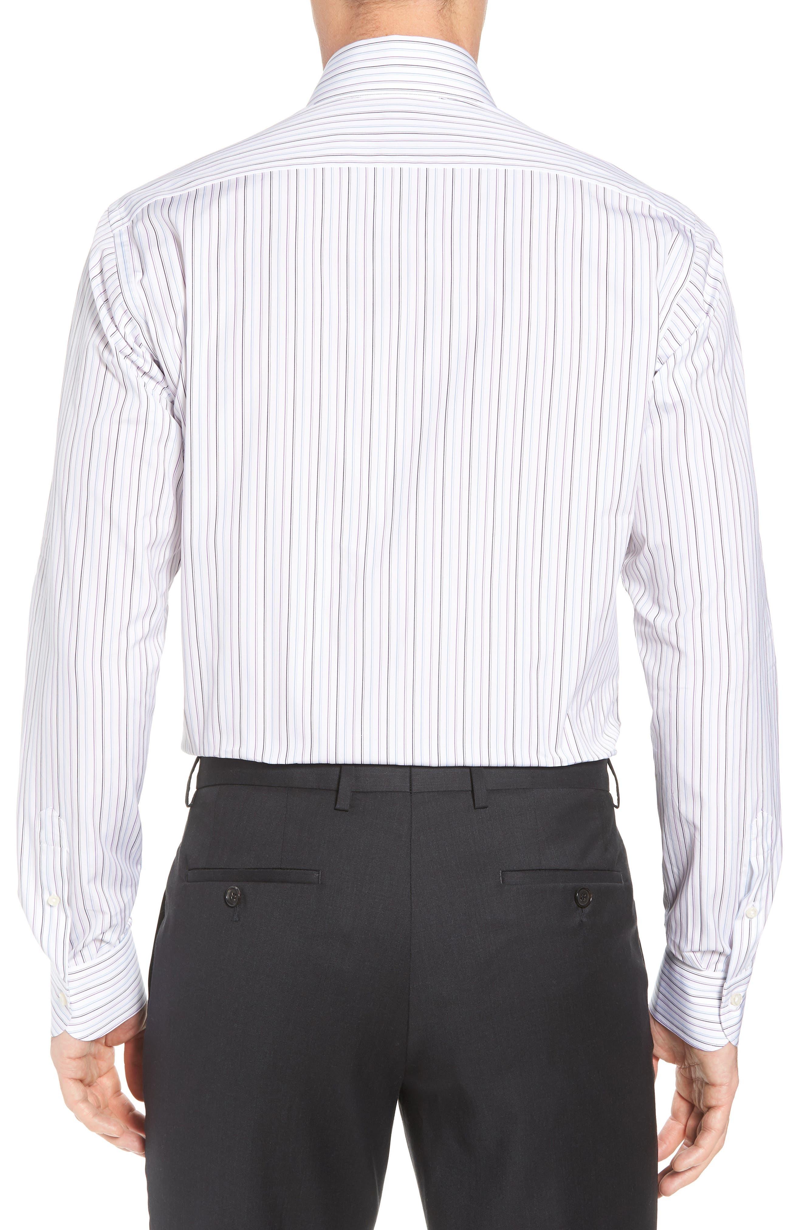 Regular Fit Stripe Dress Shirt,                             Alternate thumbnail 3, color,                             WHITE/ BLUE/ PURPLE