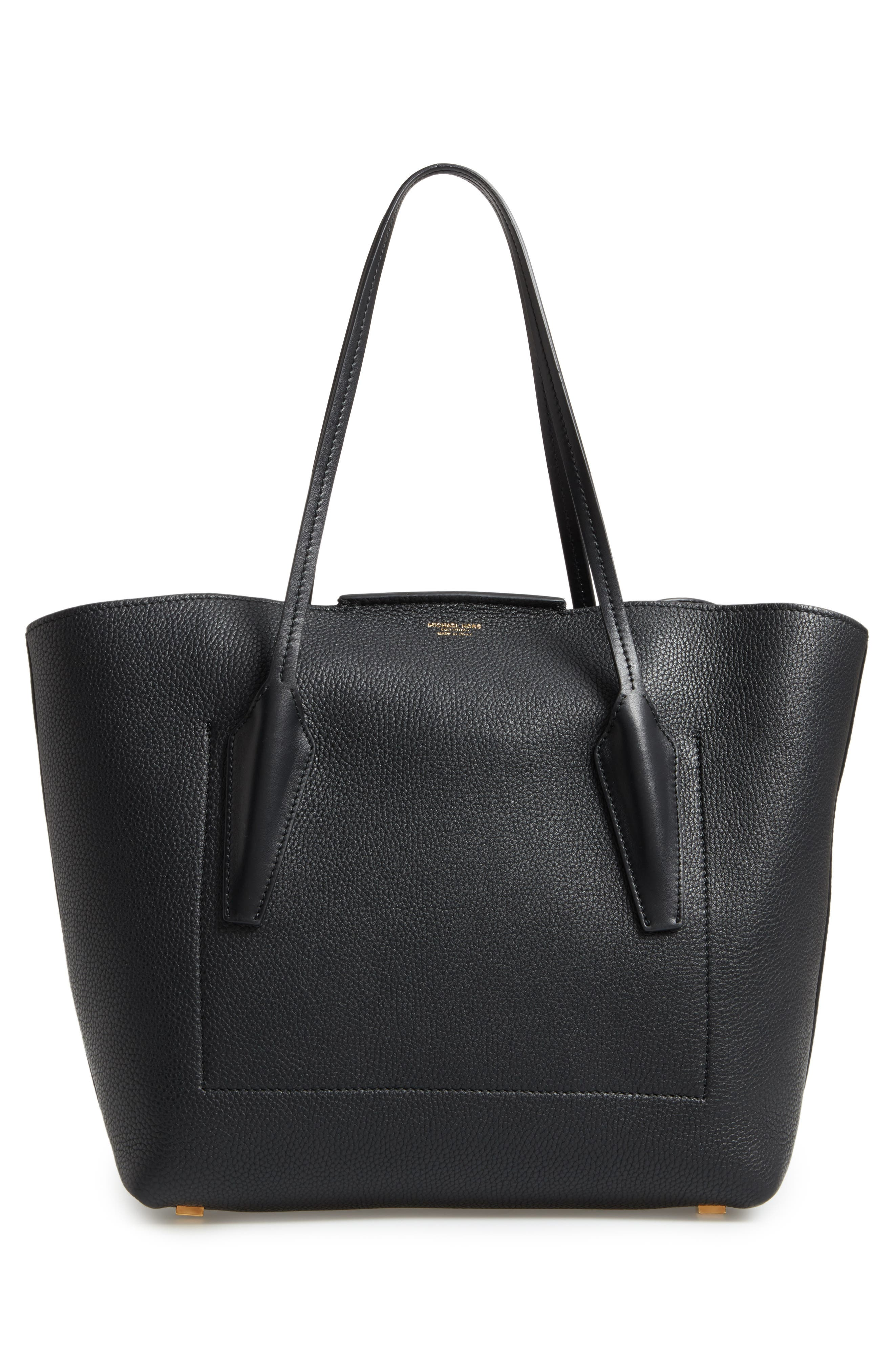 Large Bancroft Leather Tote,                             Alternate thumbnail 3, color,                             BLACK