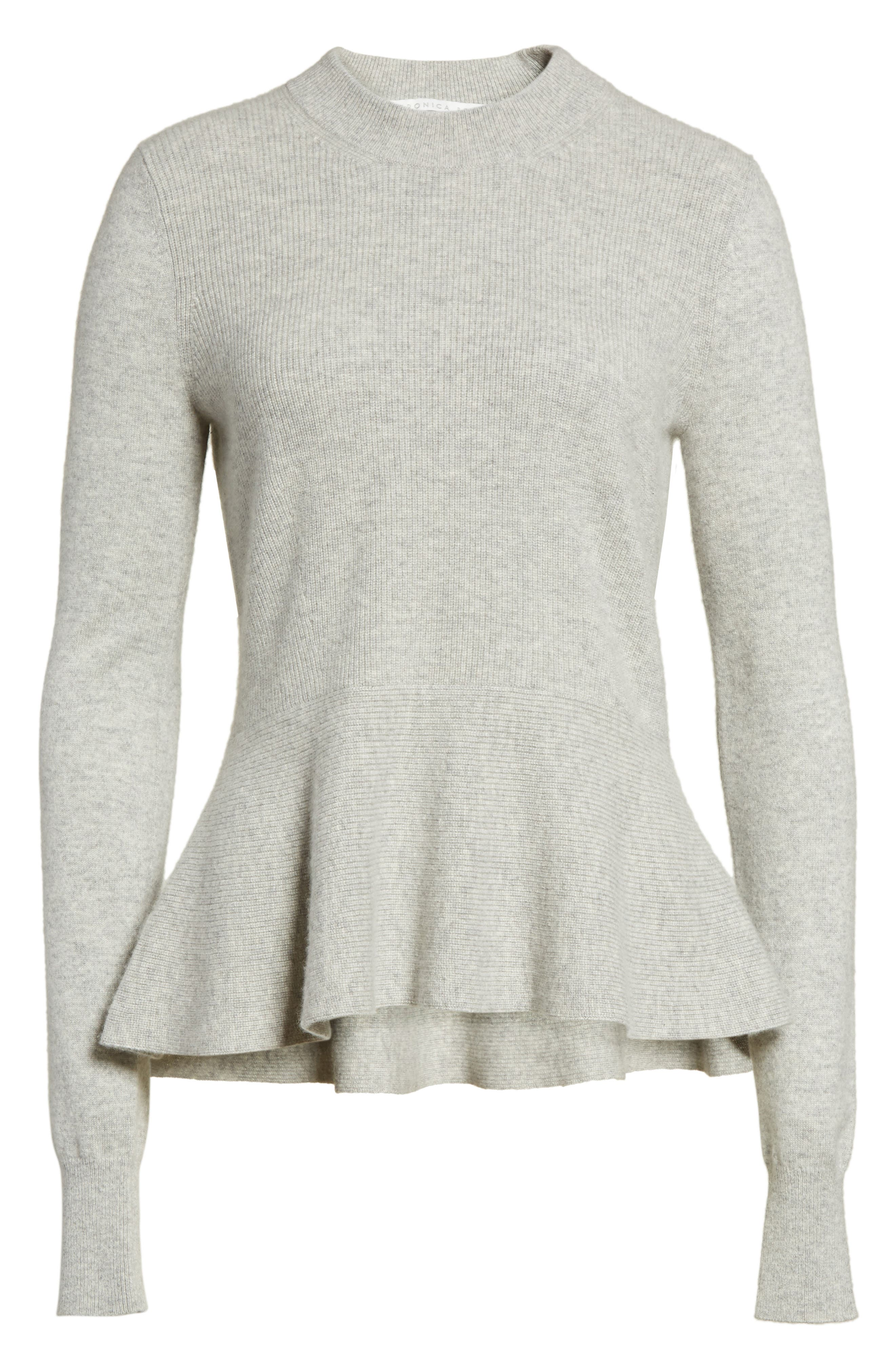 Raleigh Cashmere Peplum Sweater,                             Alternate thumbnail 17, color,