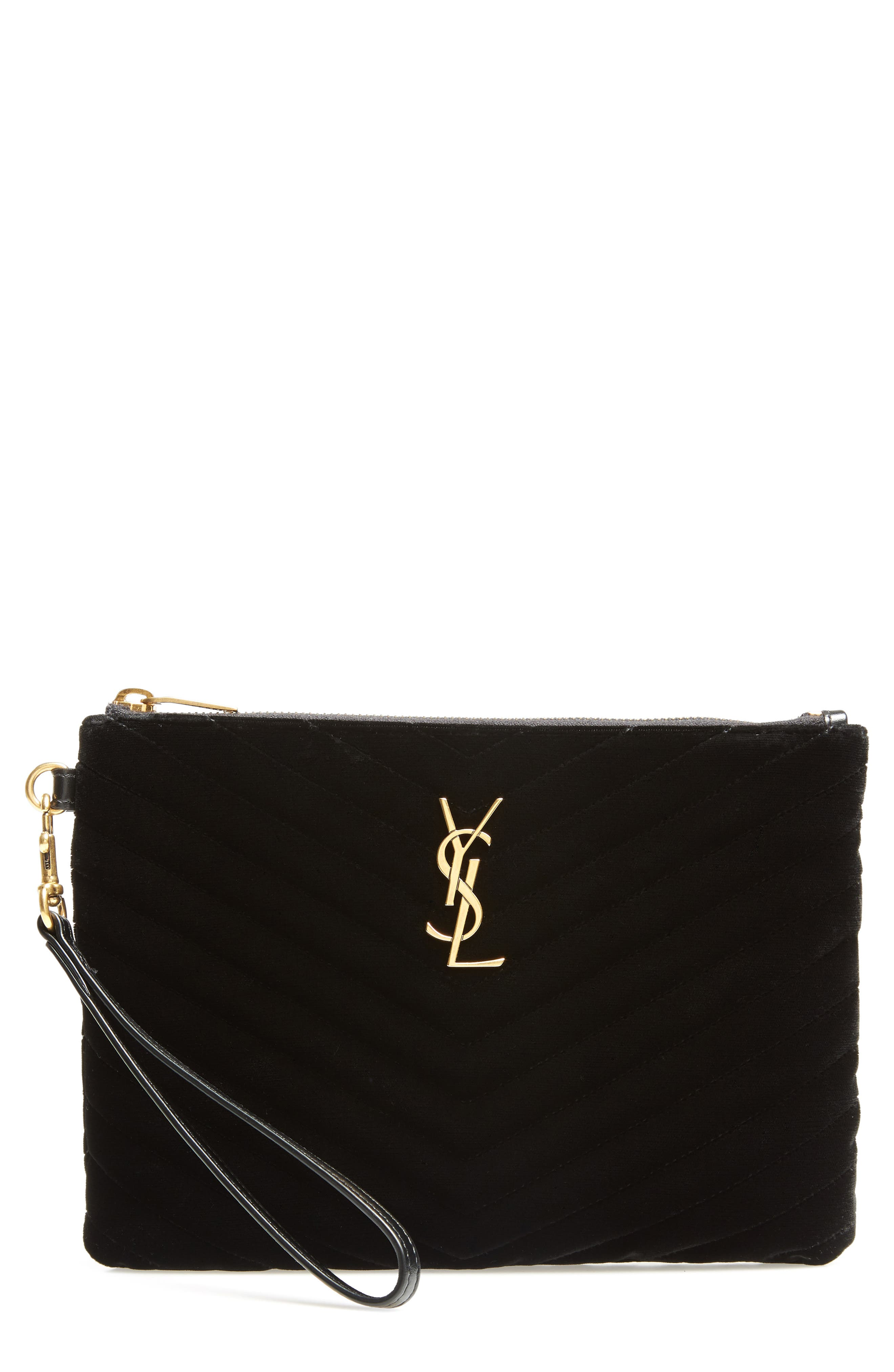 Monogram Matelassé Velvet Pouch,                         Main,                         color, 001