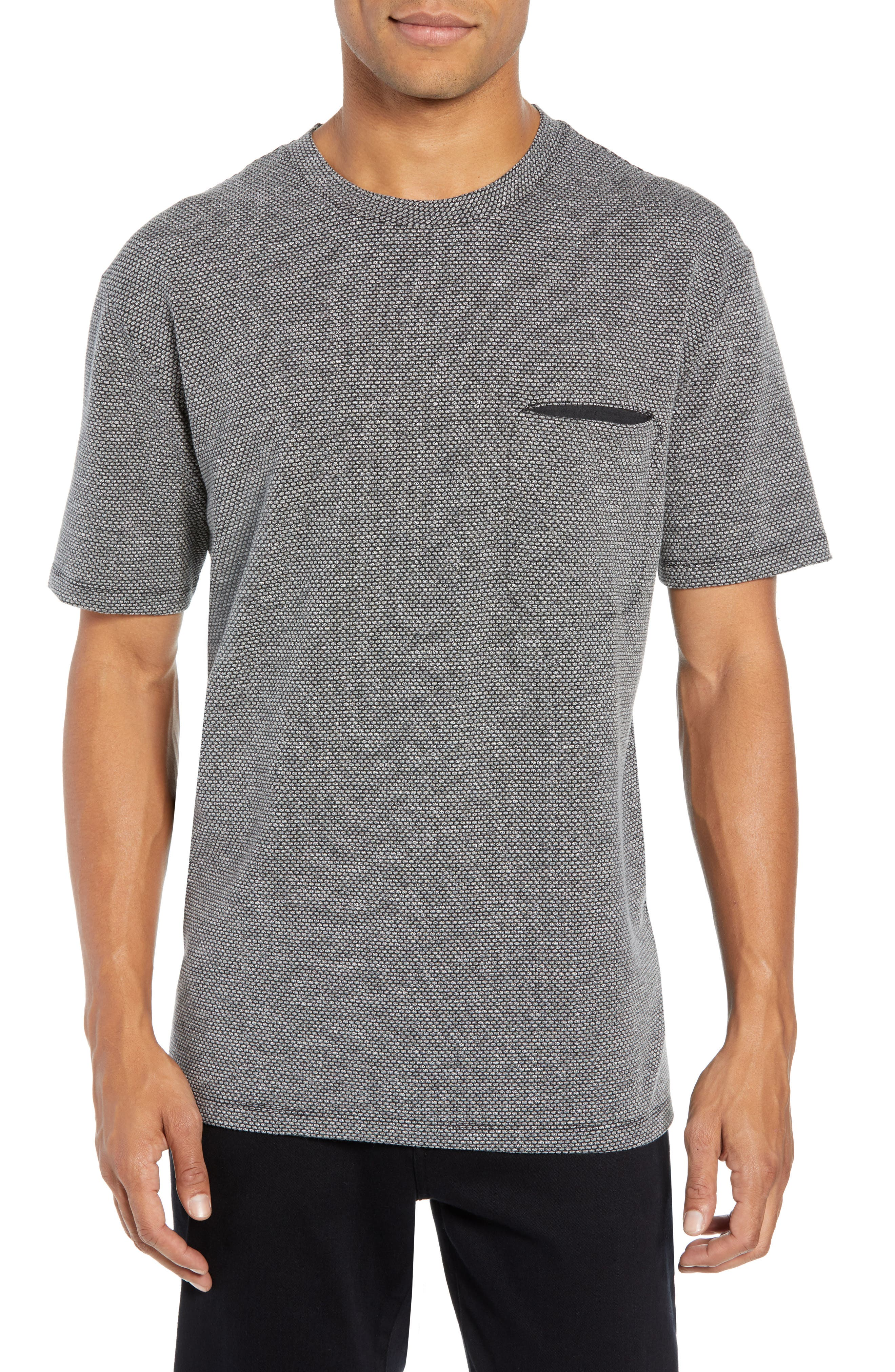 HUGO BOSS Delott Oversized-Fit Geometric Knit Tee in Grey