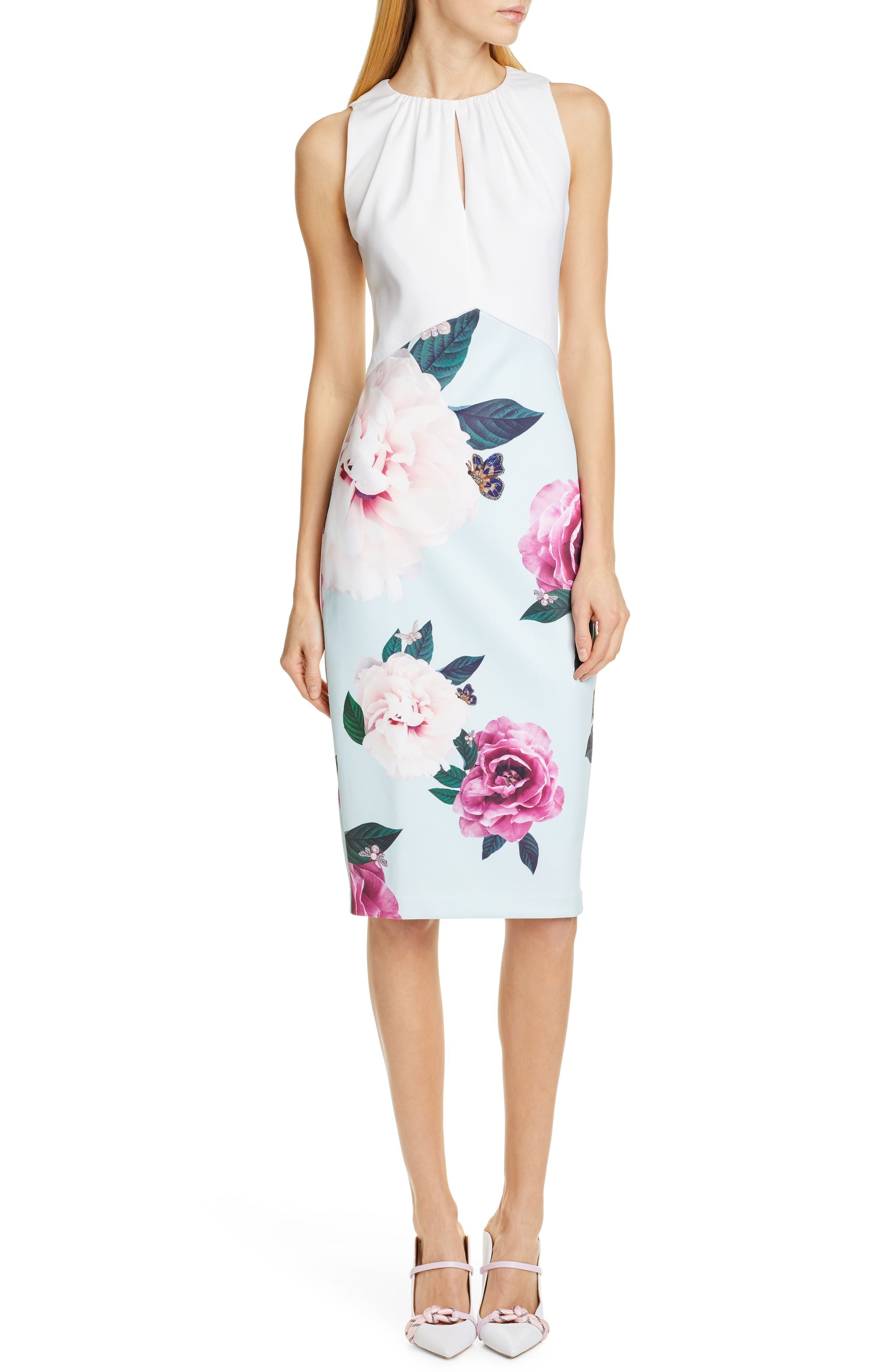 Ted Baker London Annile Magnificent Ruched Body-Con Dress, Green