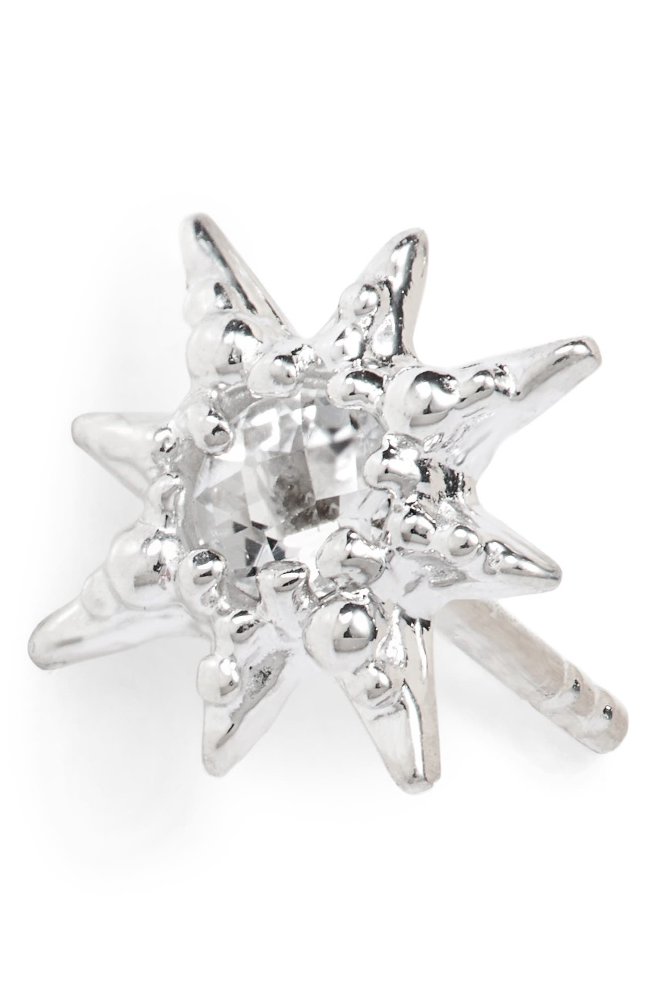 Micro Aztec Starburst Earrings,                             Alternate thumbnail 5, color,                             SILVER
