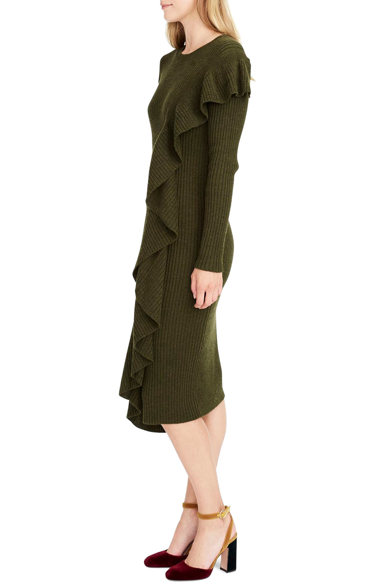 Collection Ruffle-Front Sweater Dress,                             Alternate thumbnail 3, color,                             300