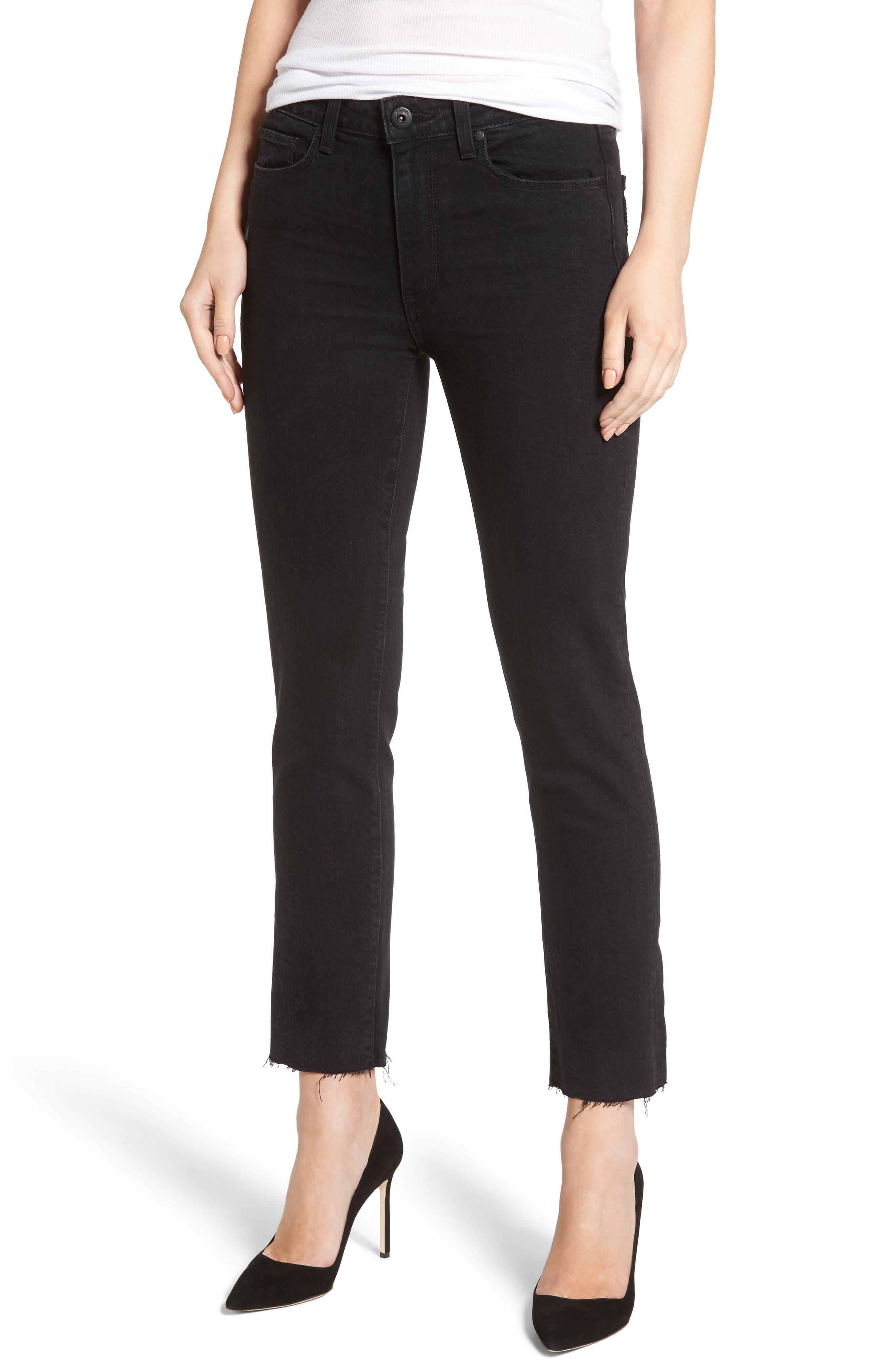 Jacqueline High Waist Crop Straight Leg Jeans,                             Main thumbnail 1, color,                             001