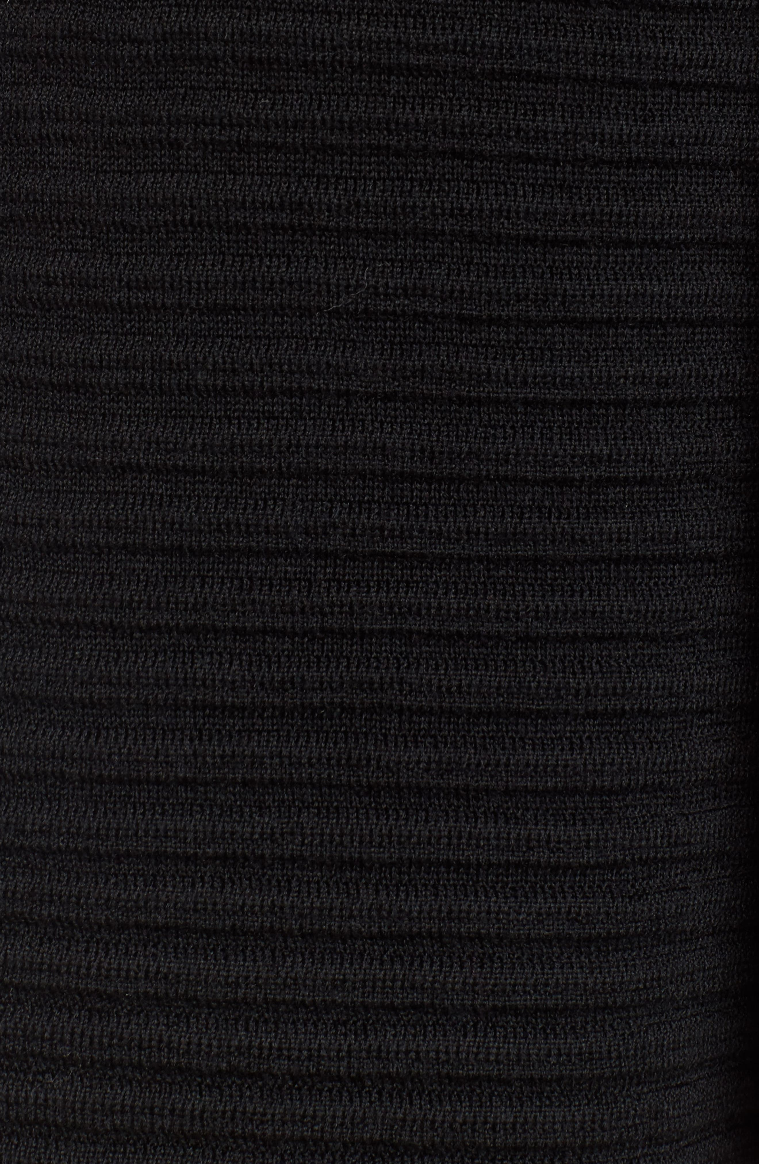 Ribbed Merino Wool Long Cardigan,                             Alternate thumbnail 5, color,                             001