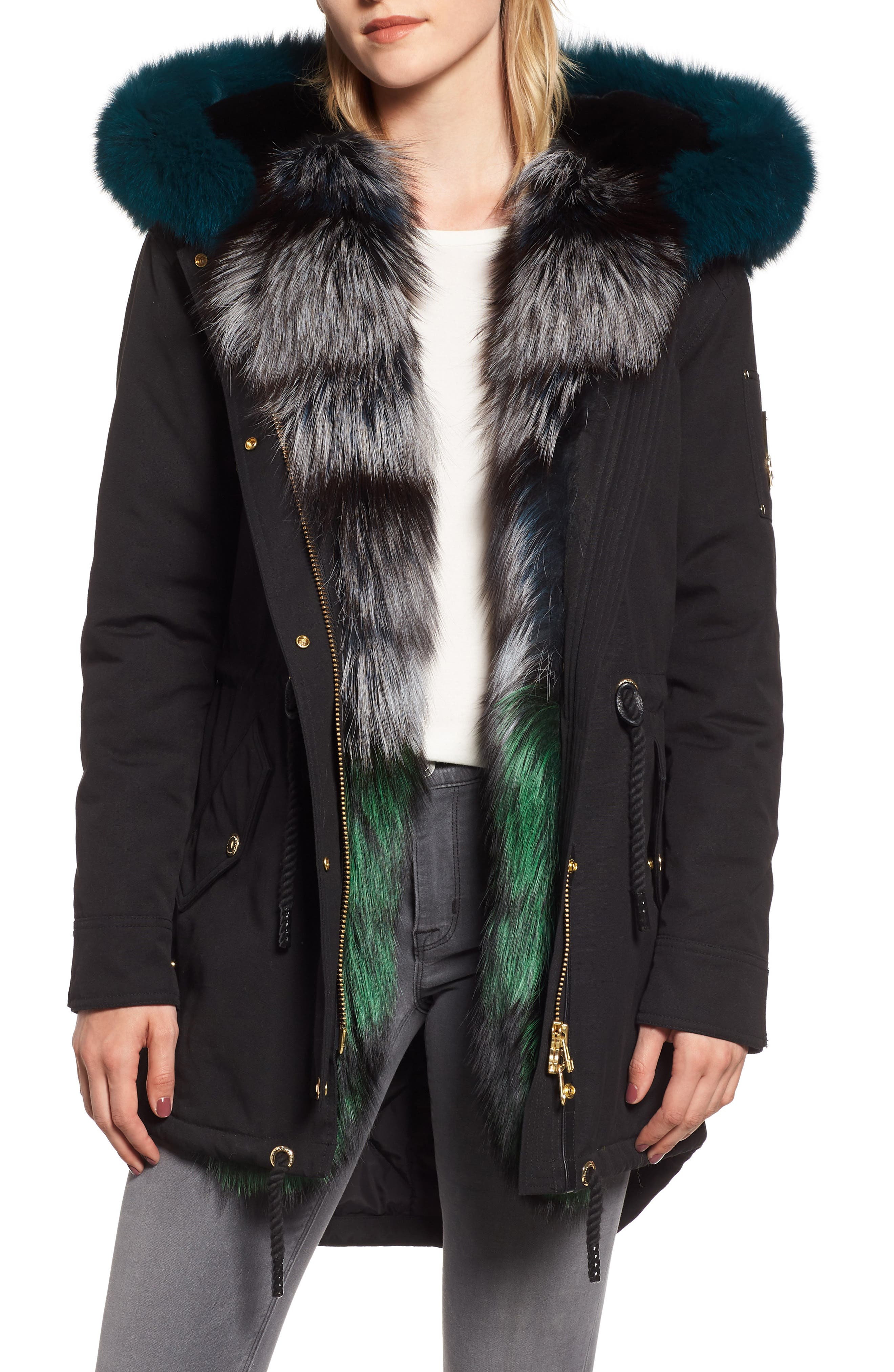 Foxy Stellar Parka with Genuine Rabbit Fur & Genuine Fox Fur,                             Main thumbnail 1, color,                             BLACK/ TEAL/ SKY BLUE/ GREEN