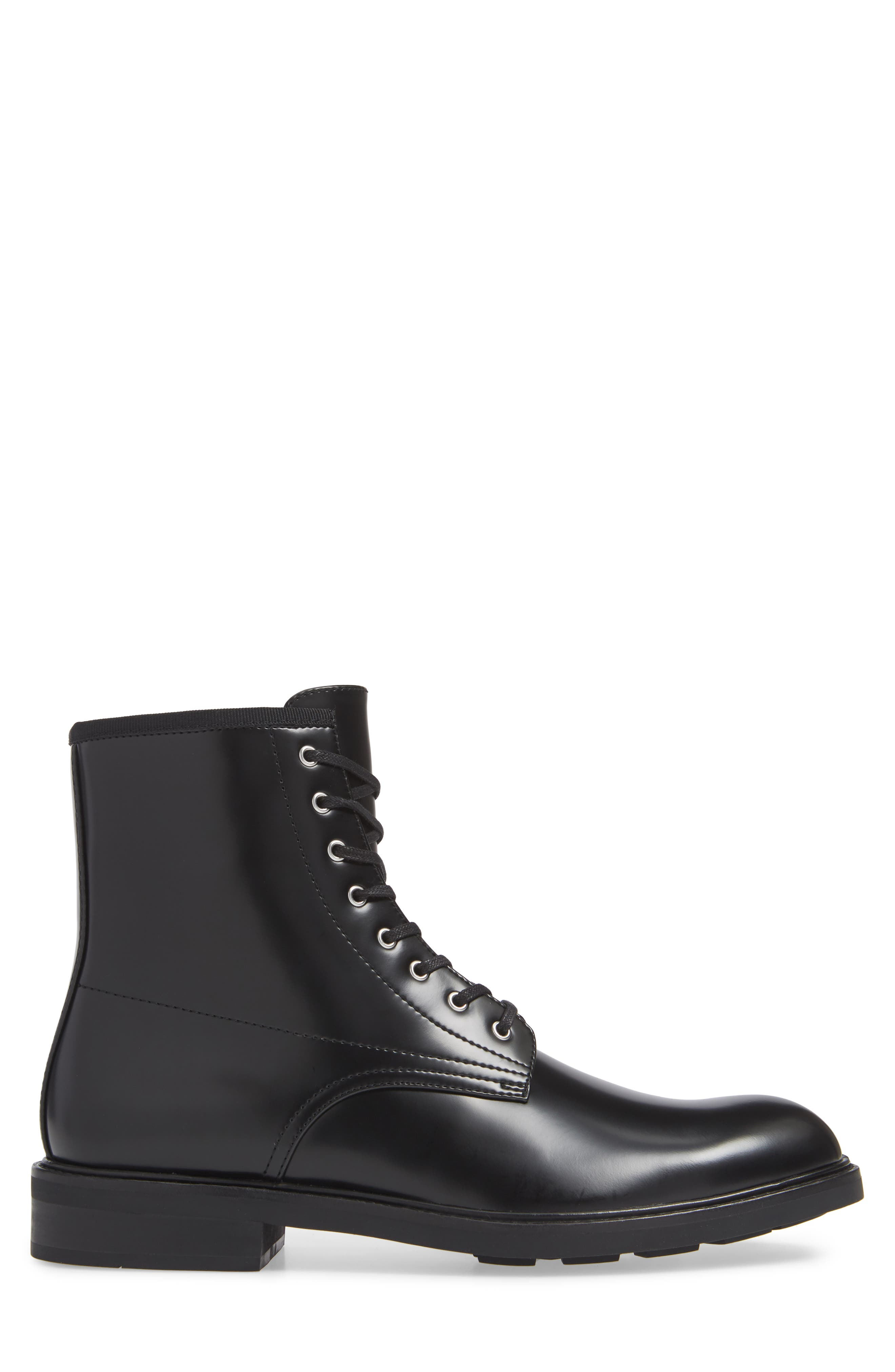Keeler Combat Boot,                             Alternate thumbnail 3, color,                             BLACK LEATHER