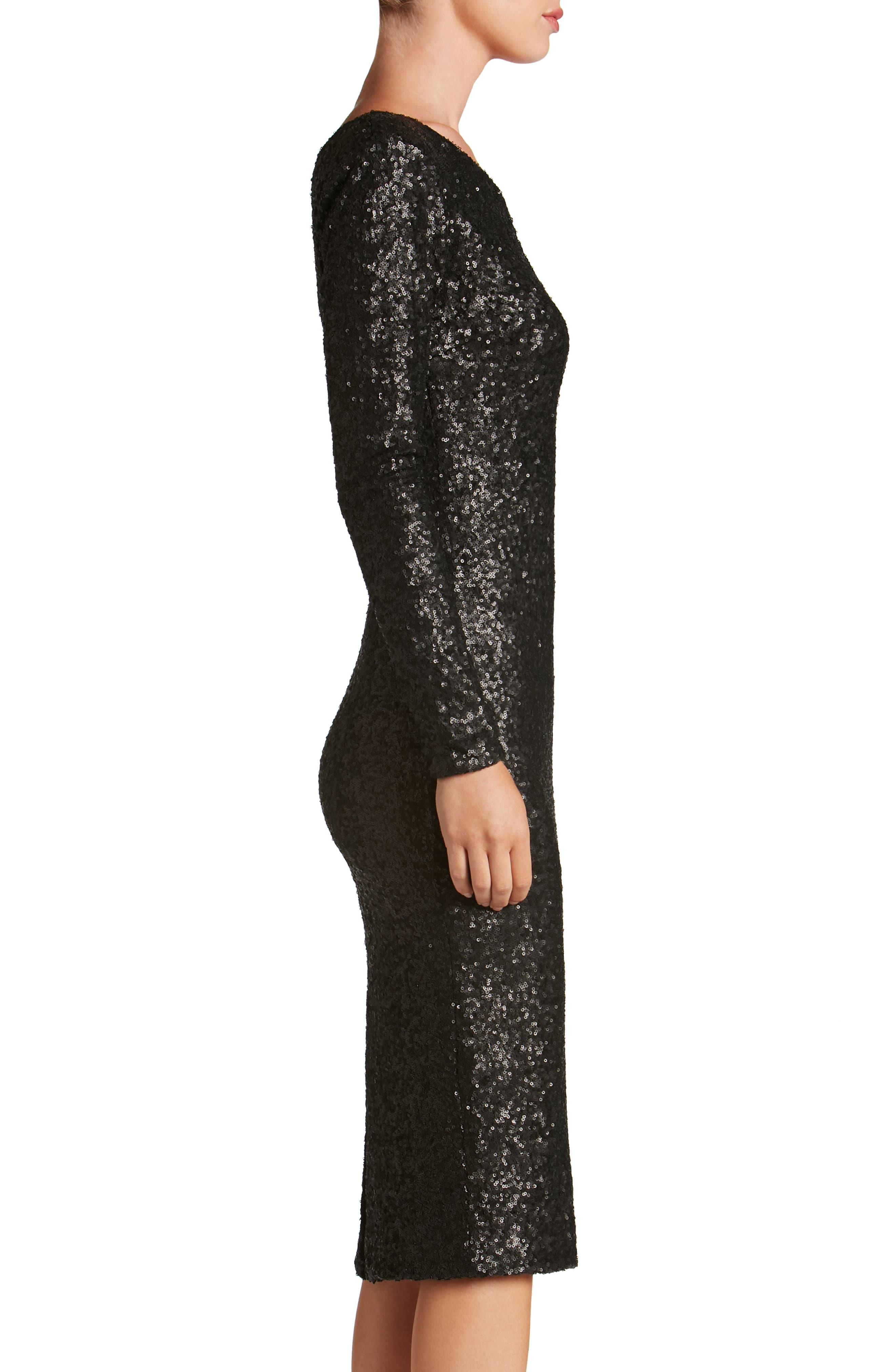 Chrissie Sequin One-Shoulder Dress,                             Alternate thumbnail 3, color,                             018