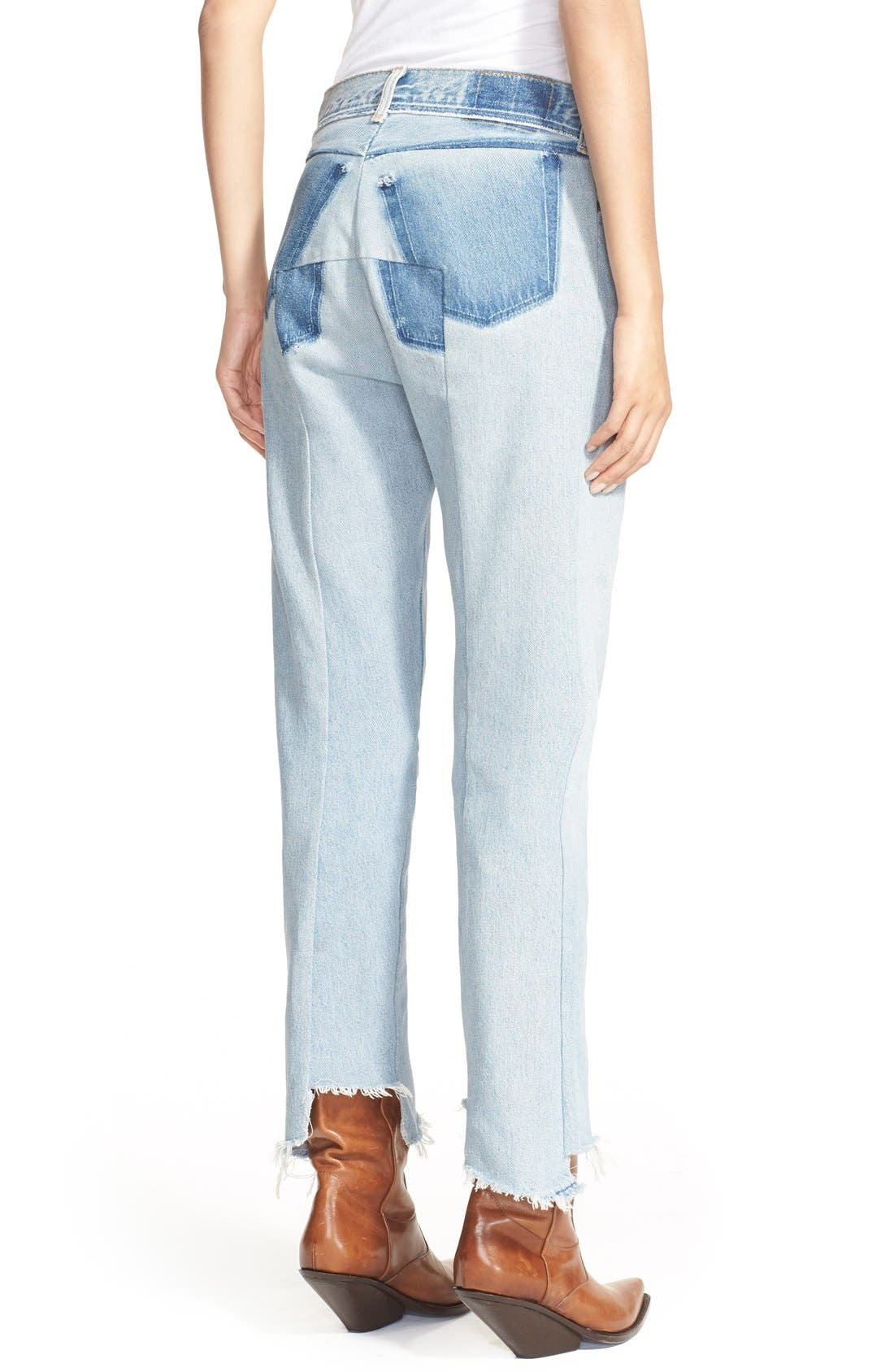 Deconstructed Crop Jeans,                             Alternate thumbnail 3, color,                             400