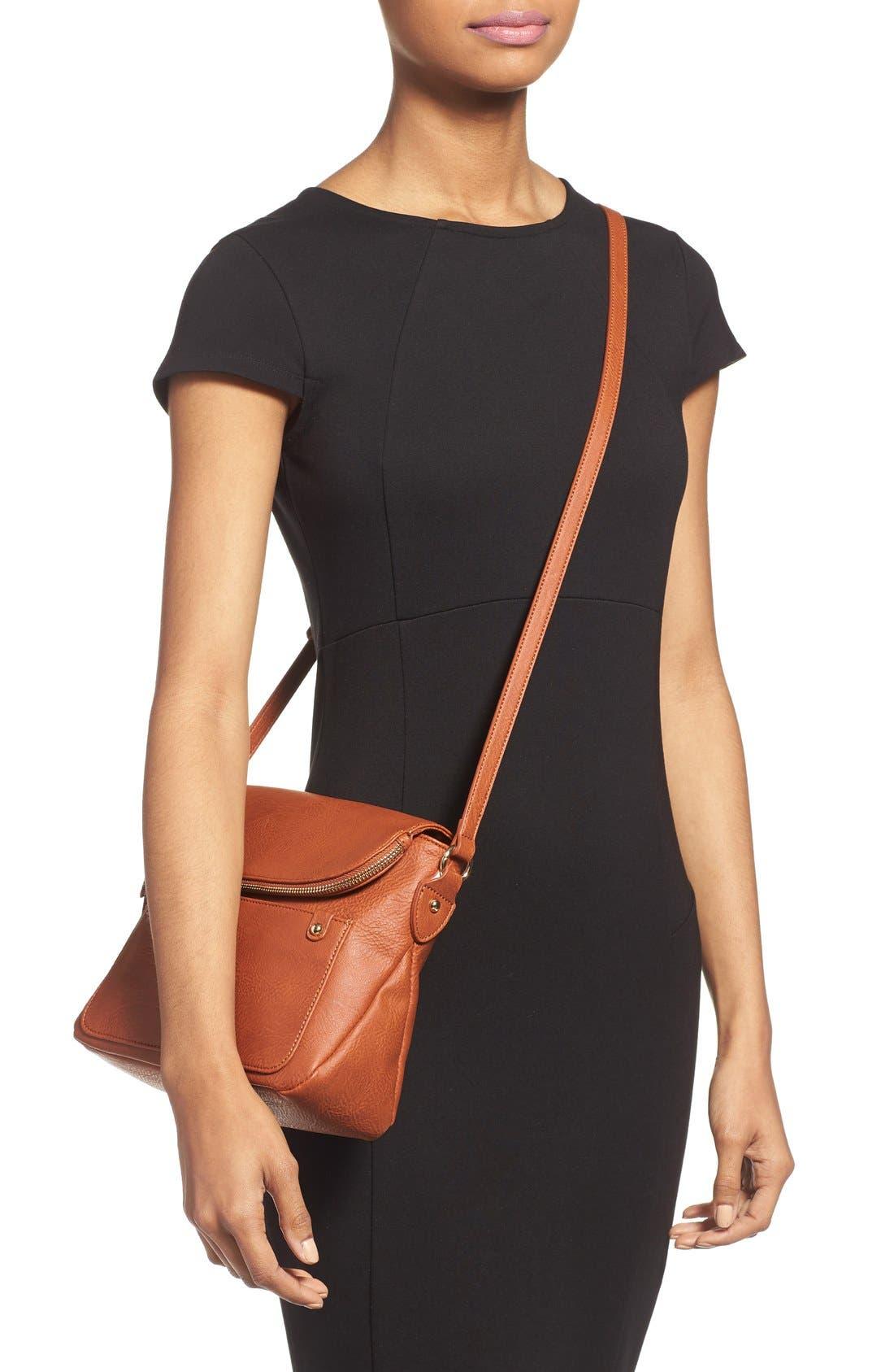 Zip Flap Faux Leather Crossbody Bag,                             Alternate thumbnail 12, color,