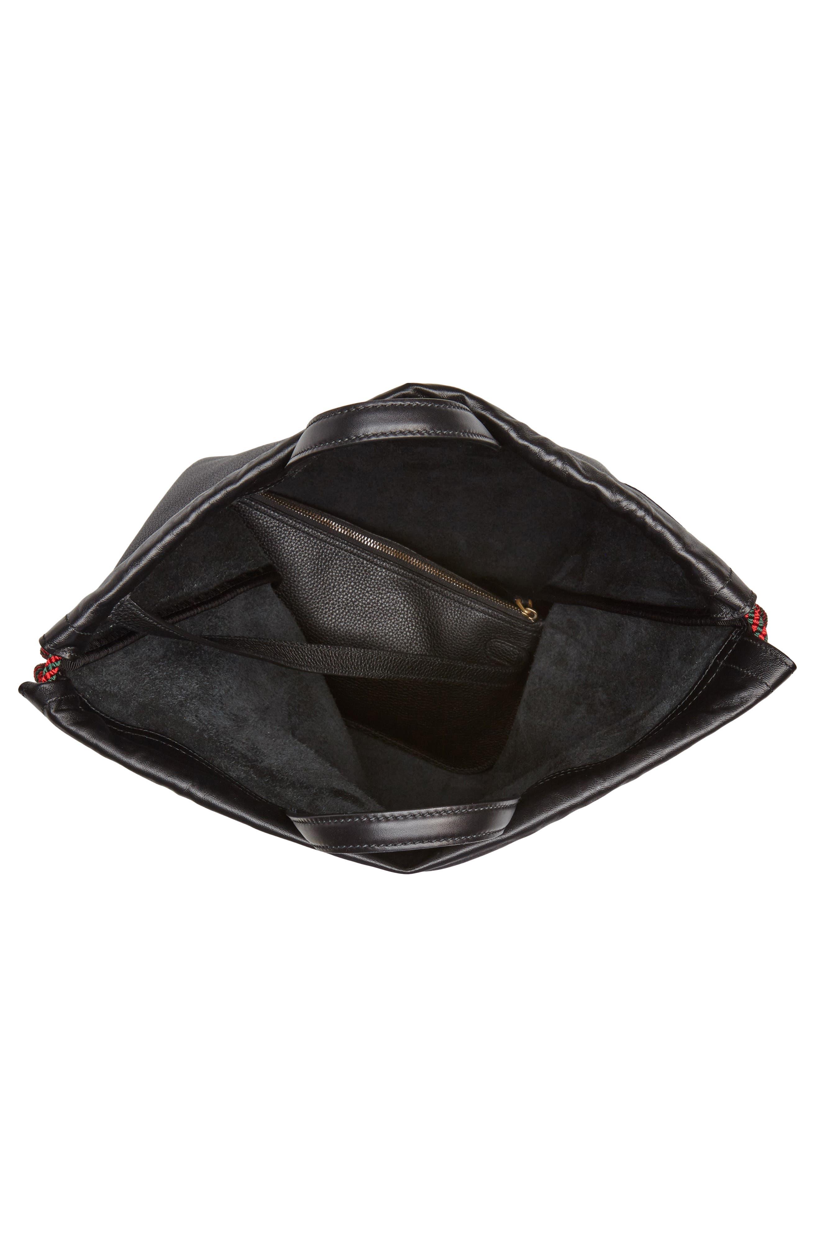 Logo Leather Drawstring Backpack,                             Alternate thumbnail 4, color,                             BLACK