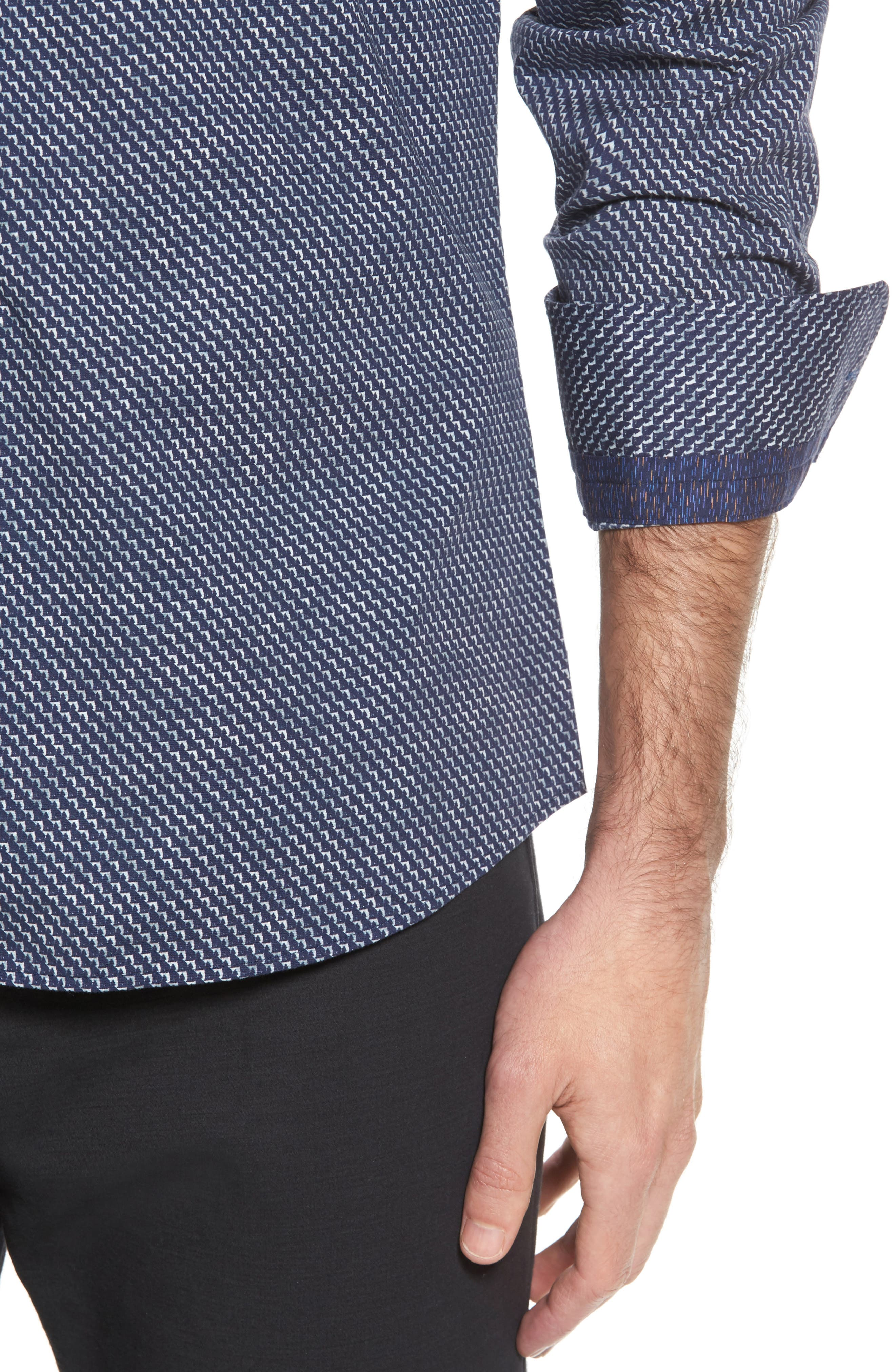 Slim Fit Wolf Texture FX Sport Shirt,                             Alternate thumbnail 4, color,