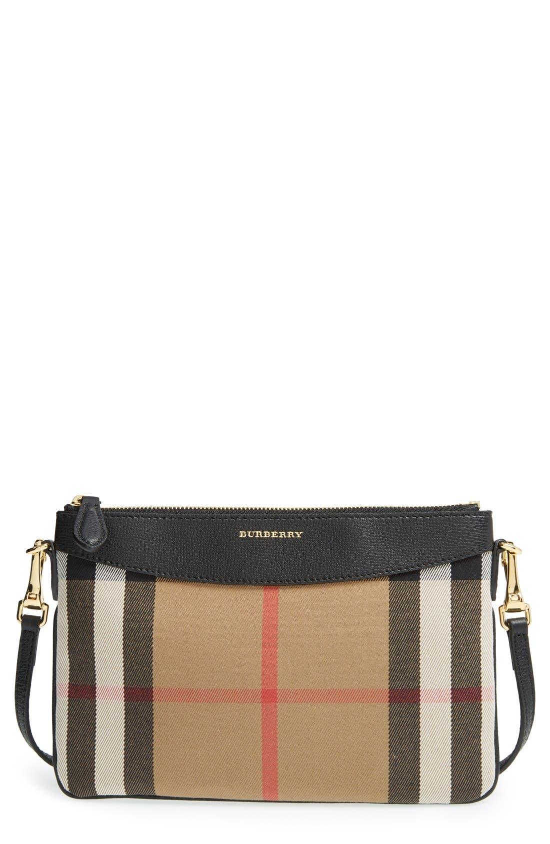 BURBERRY 'Peyton - House Check' Crossbody Bag, Main, color, 001