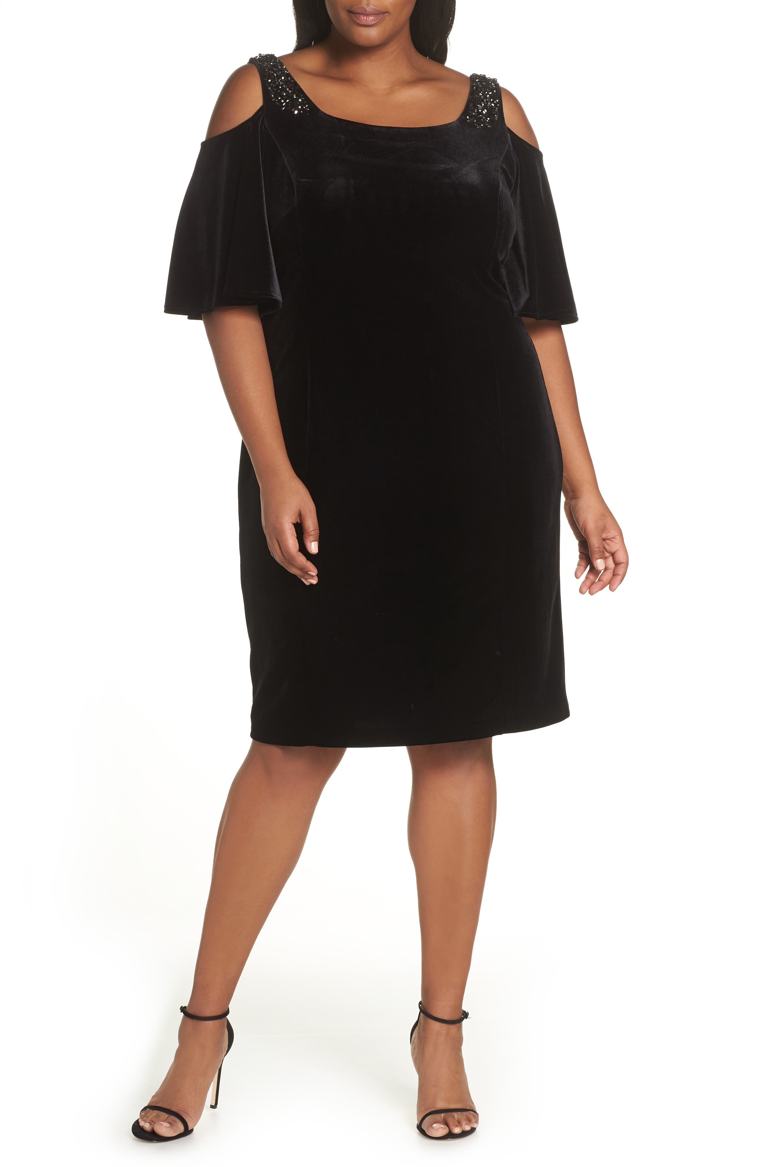 ALEX EVENINGS,                             Velvet Cold Shoulder Sheath Dress,                             Main thumbnail 1, color,                             001