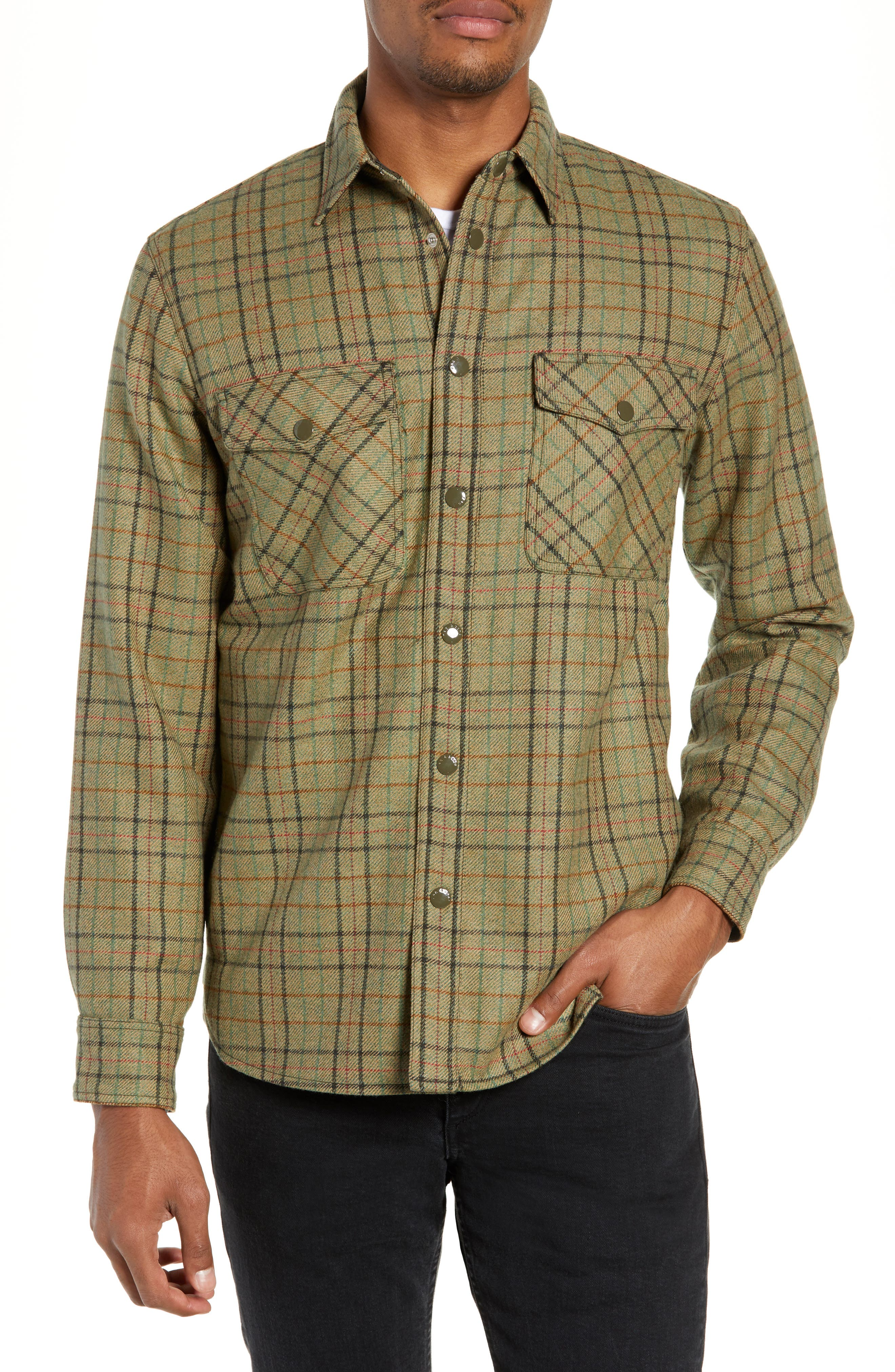 Jack Plaid Wool Overshirt,                             Alternate thumbnail 4, color,                             OLIVE MULTI