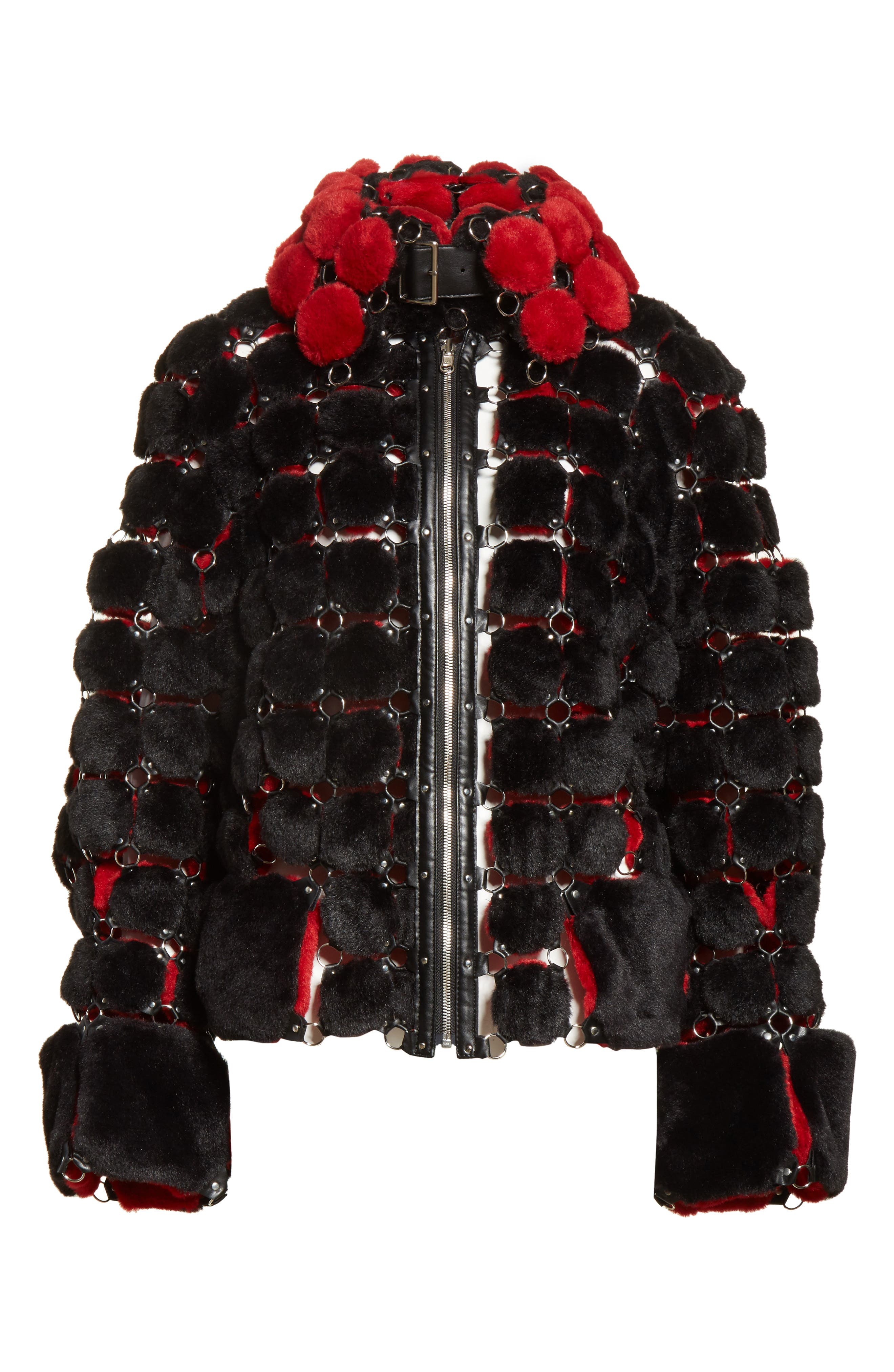 Faux Fur Jacket with Chain Mail Detail,                             Alternate thumbnail 5, color,                             005