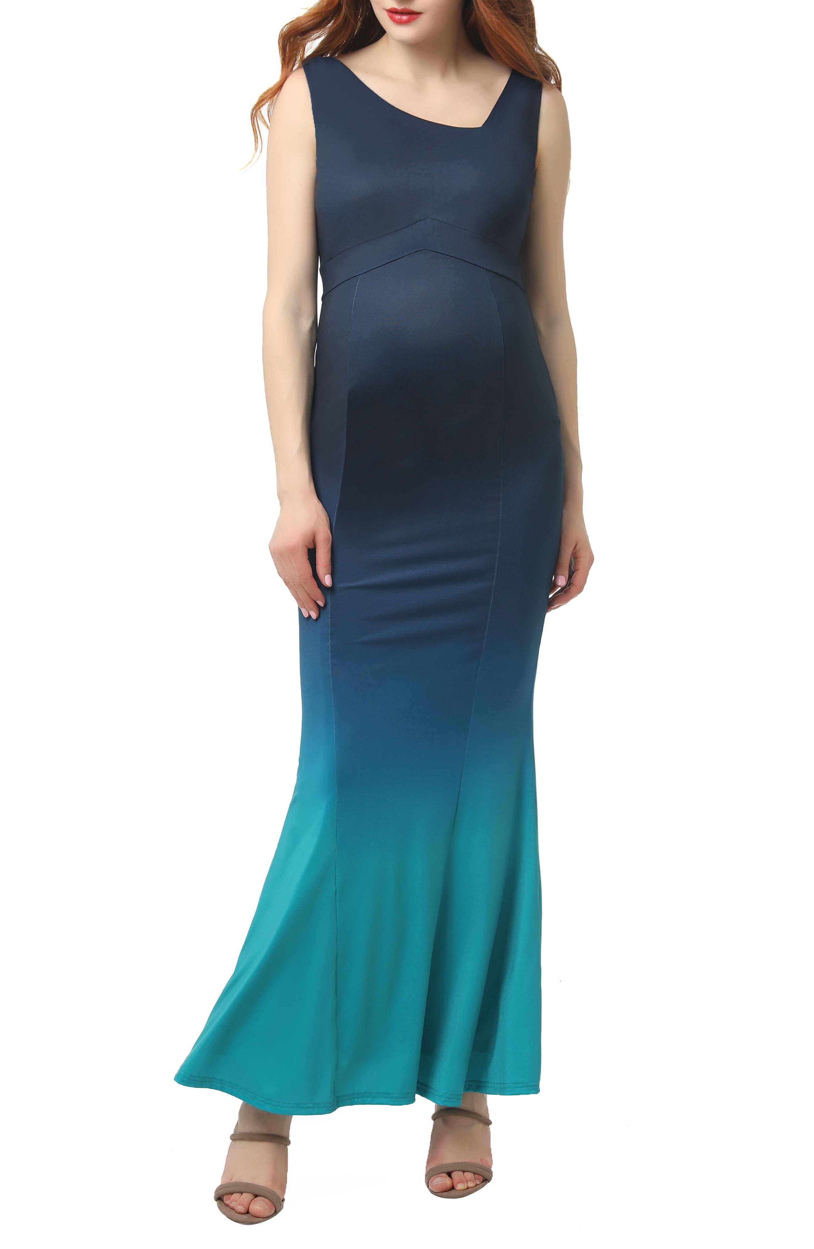 Kimi And Kai Kyla Ombre Maternity Mermaid Maxi Dress, Blue/green