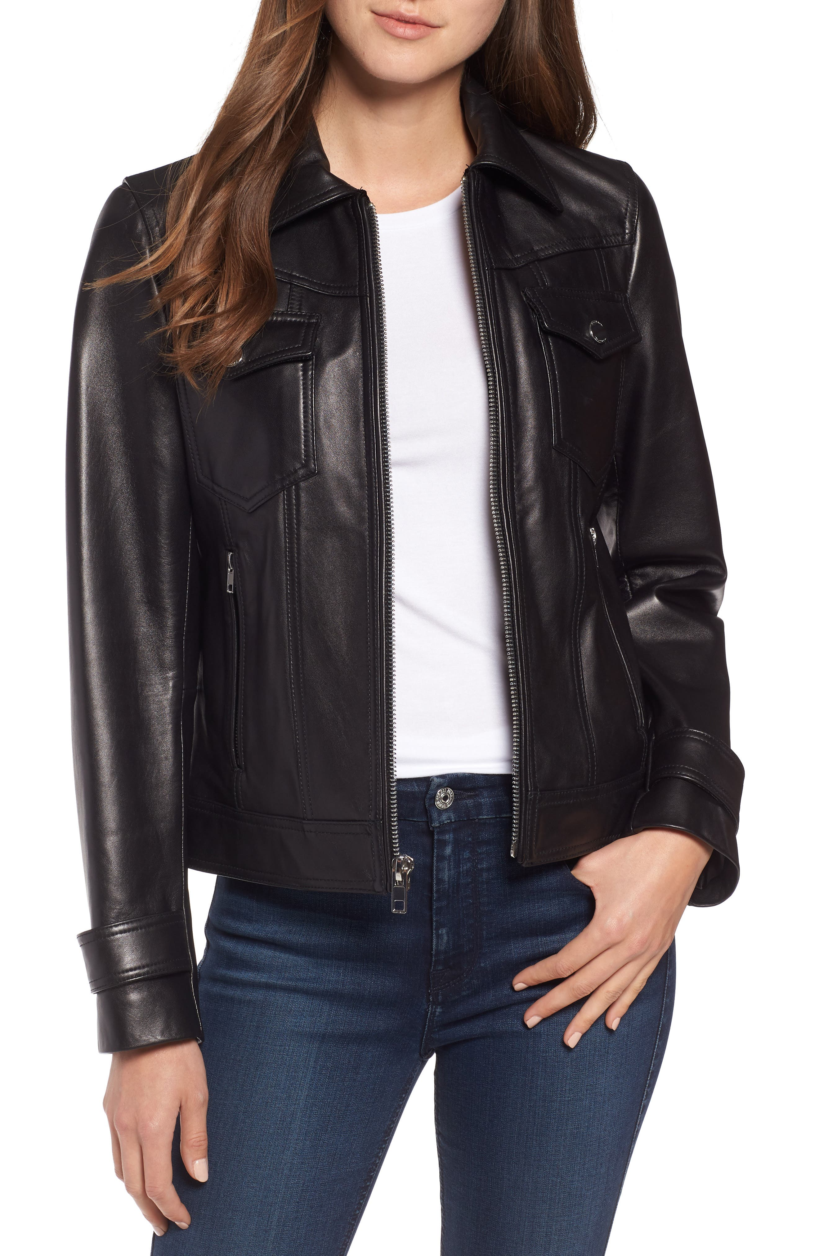 Esther Leather Trucker Jacket,                         Main,                         color, BLACK