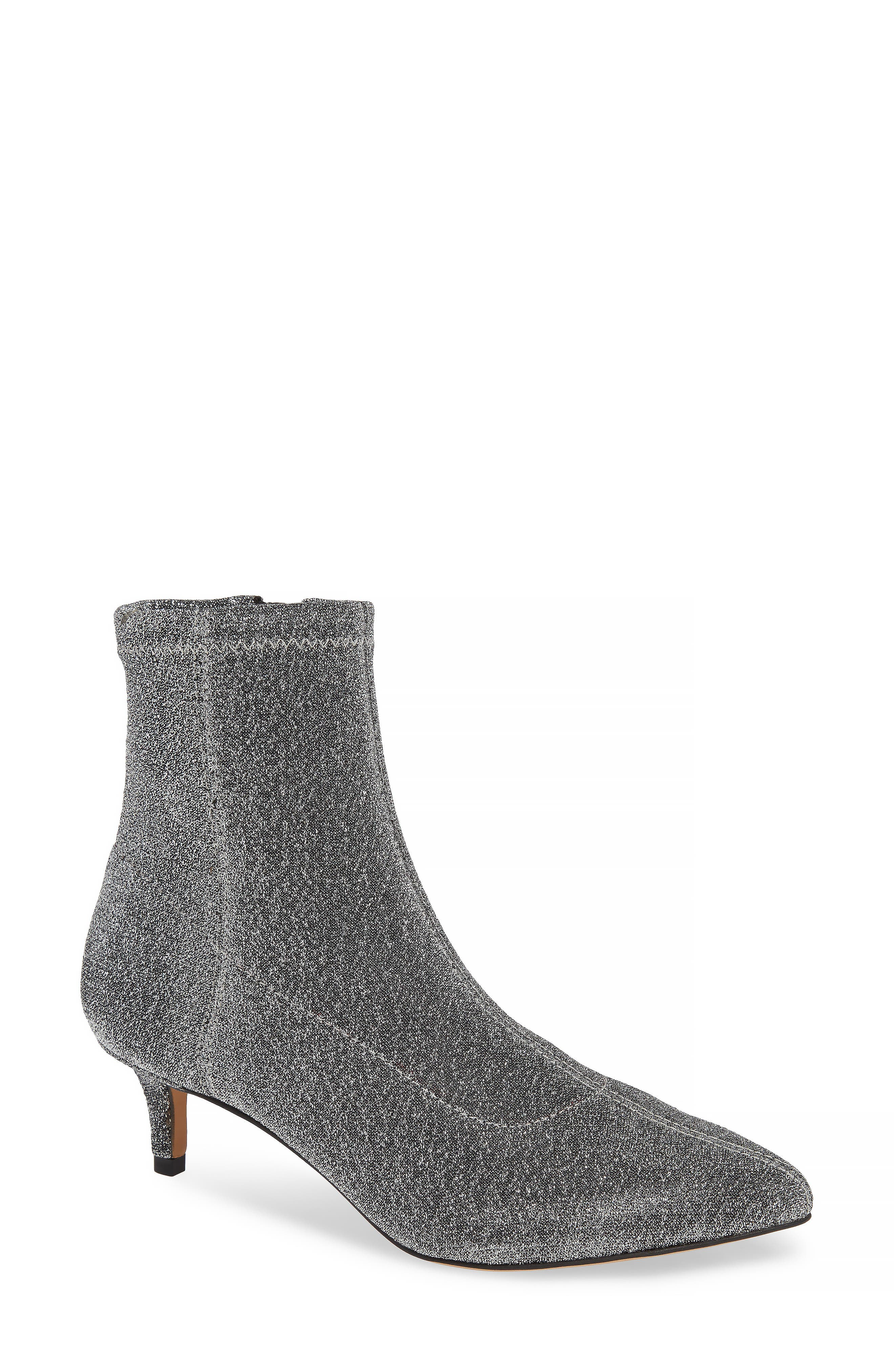 Sayres Bootie,                             Main thumbnail 1, color,                             SILVER FABRIC