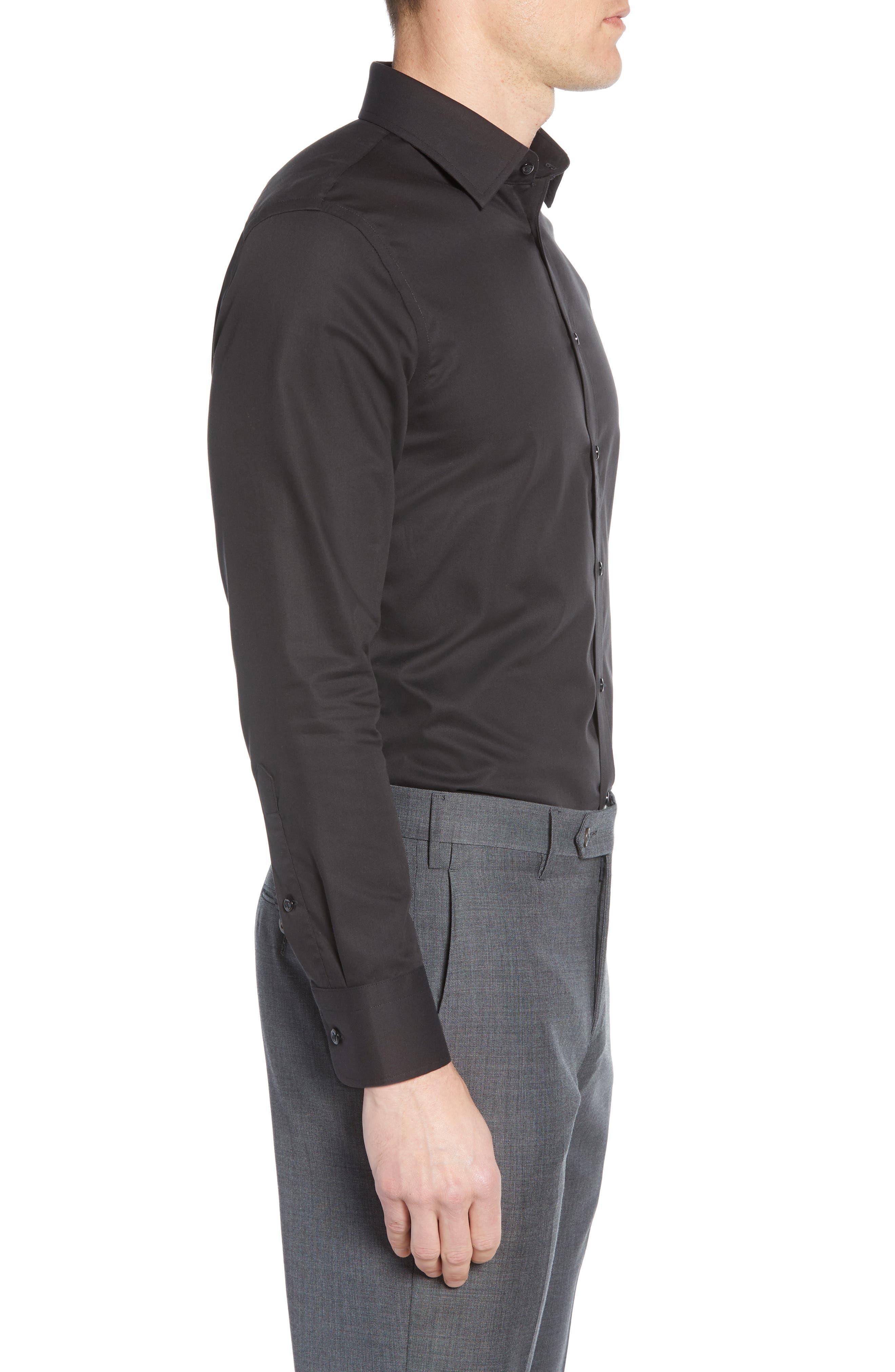 NORDSTROM MEN'S SHOP,                             Extra Trim Fit Non-Iron Solid Dress Shirt,                             Alternate thumbnail 4, color,                             BLACK ROCK