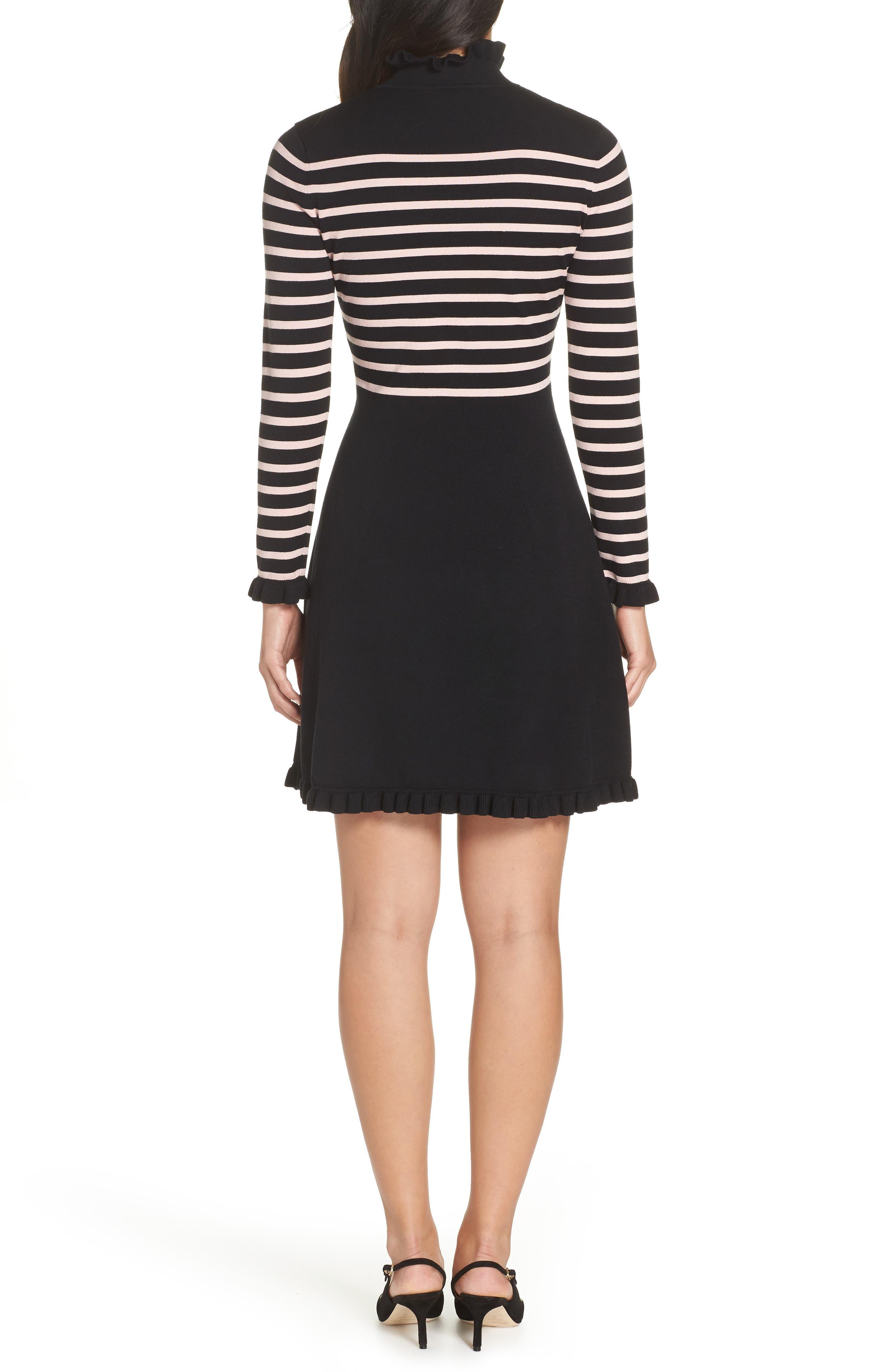 1901,                             Mock Neck Stripe Sweater Dress,                             Alternate thumbnail 2, color,                             BLACK- PINK STRIPE