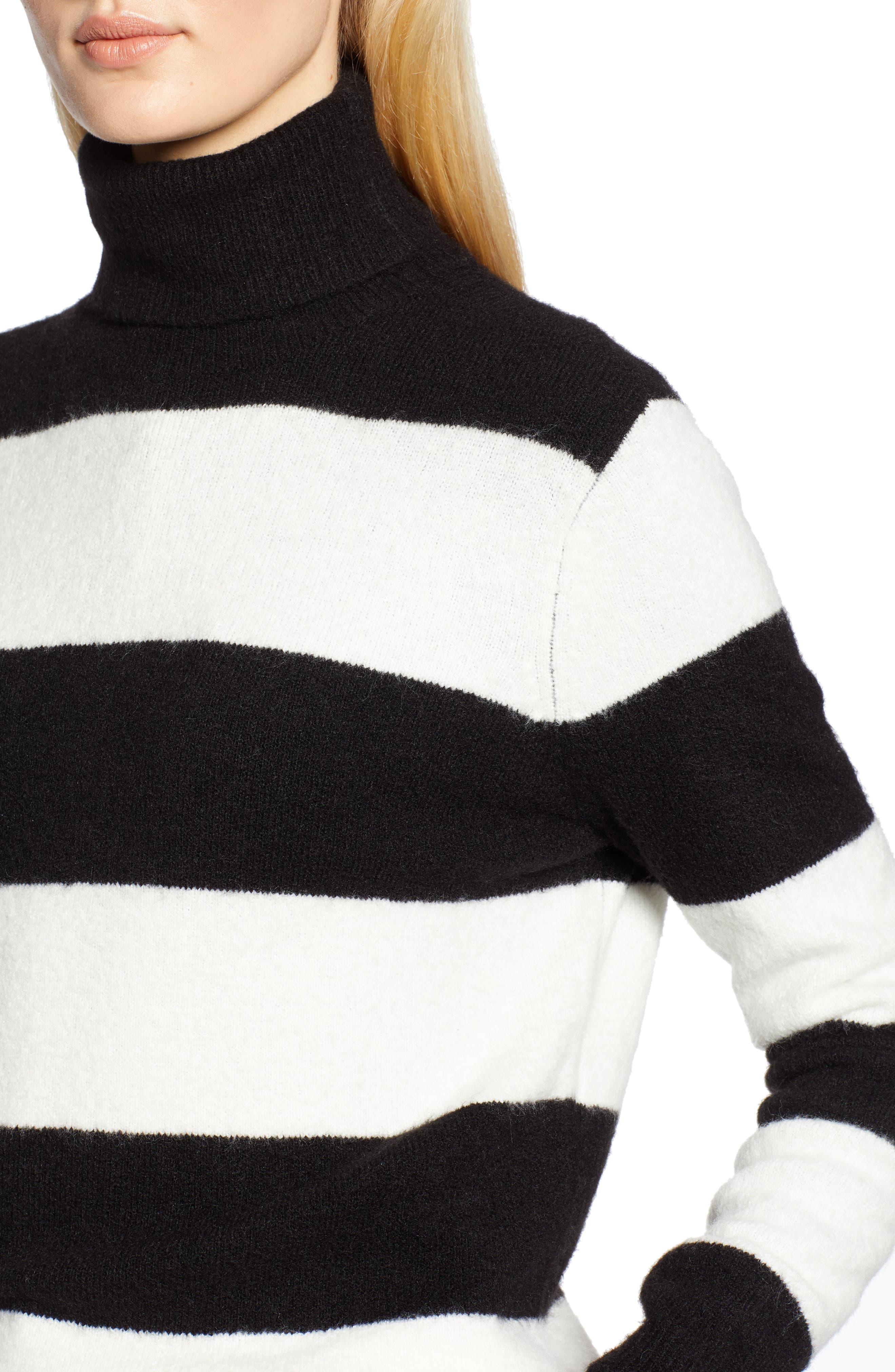 x Atlantic-Pacific Stripe Turtleneck Sweater,                             Alternate thumbnail 5, color,                             BLACK- IVORY STRIPE