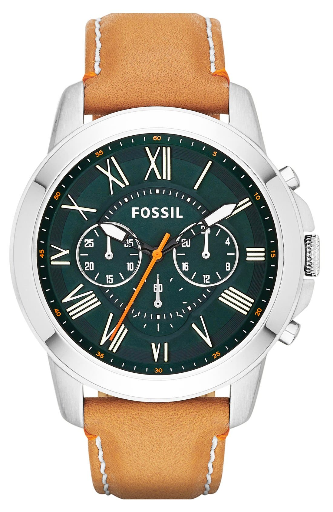 'Grant' Round Chronograph Leather Strap Watch, 44mm,                             Main thumbnail 13, color,