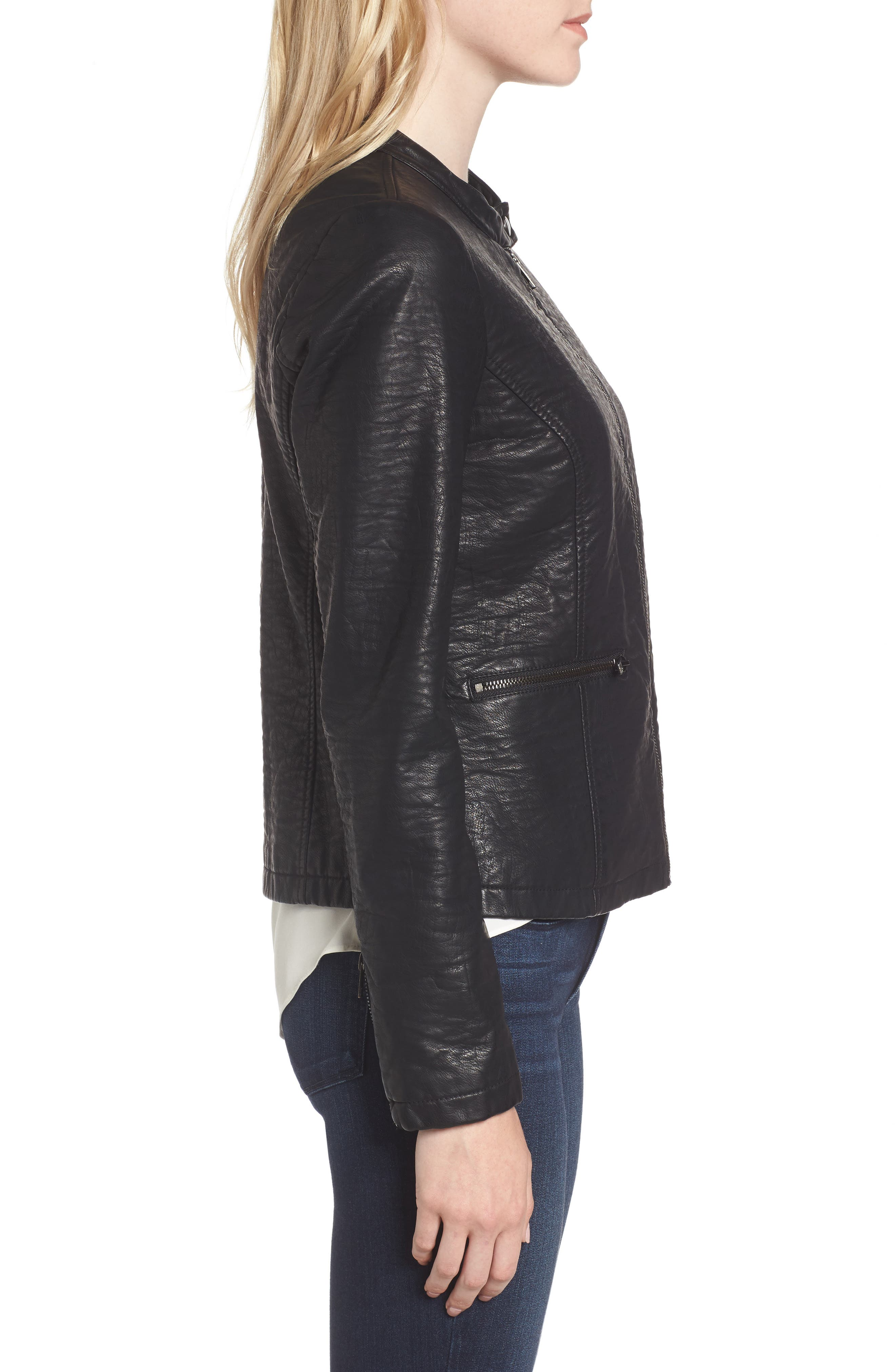 Dolly Faux Leather Jacket,                             Alternate thumbnail 3, color,                             001
