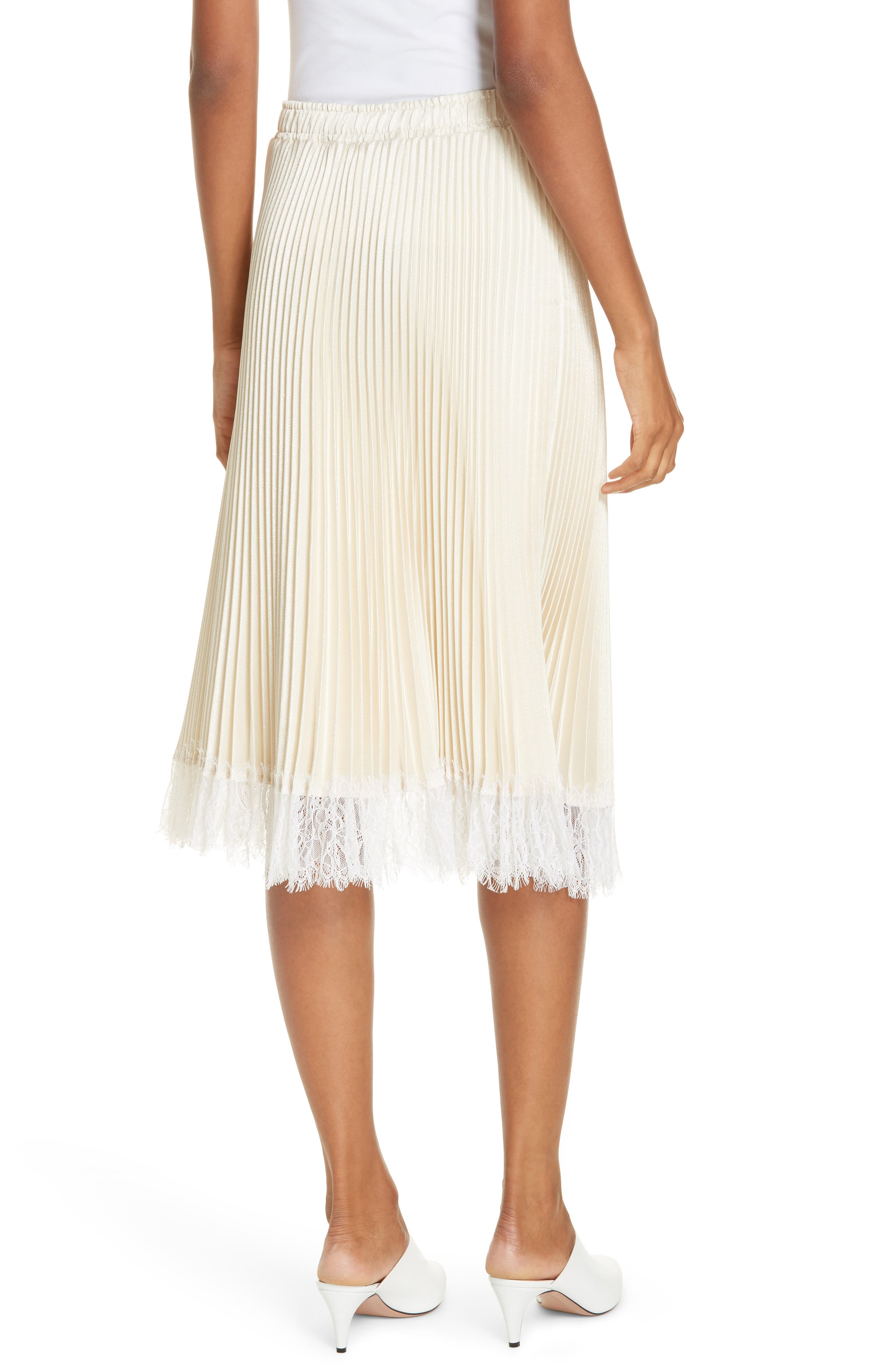 Pleated Metallic Lace Trim Skirt,                             Alternate thumbnail 2, color,                             CHAMPAGNE