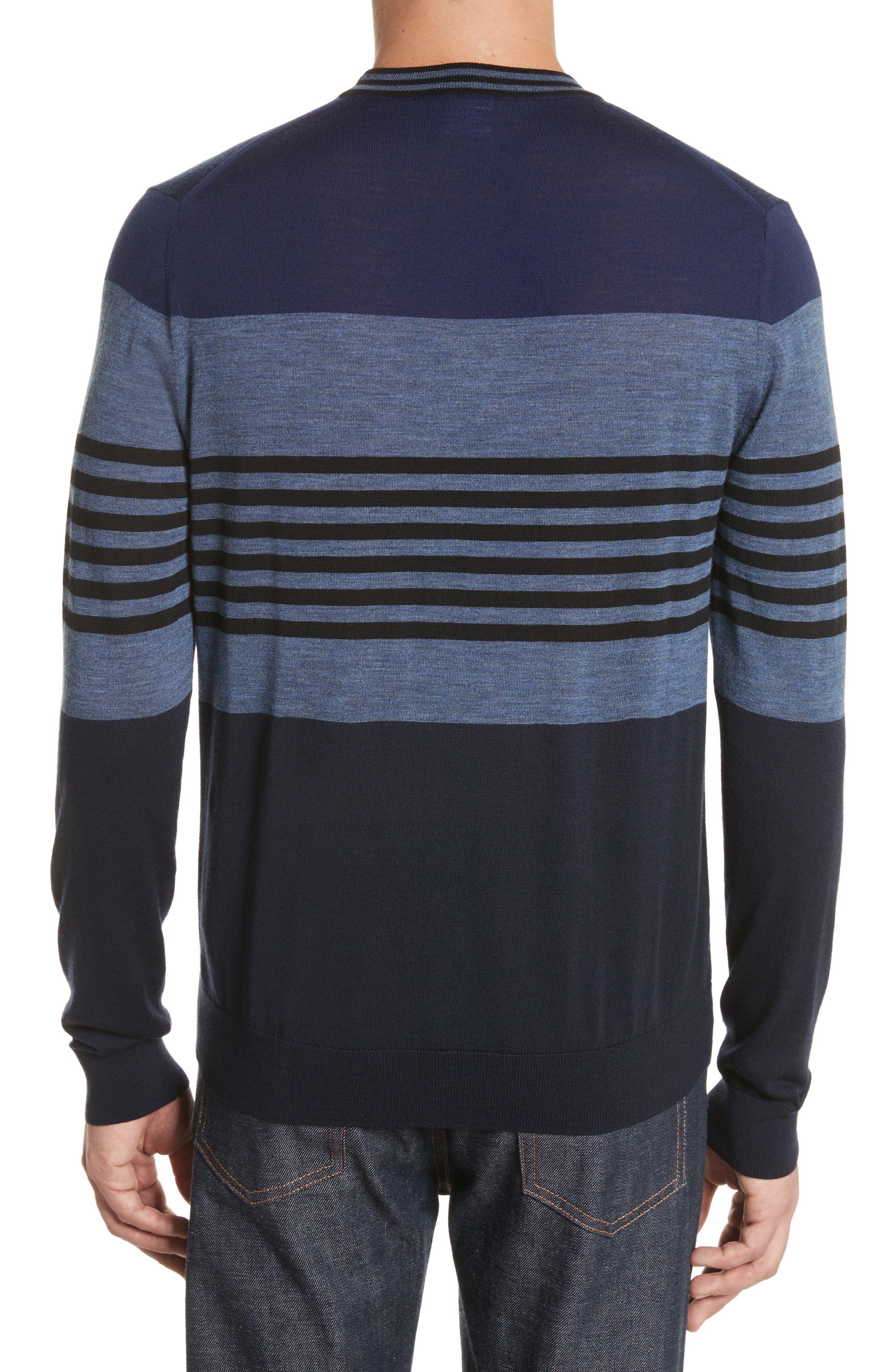 Stripe Merino Wool Crewneck Sweater,                             Alternate thumbnail 4, color,