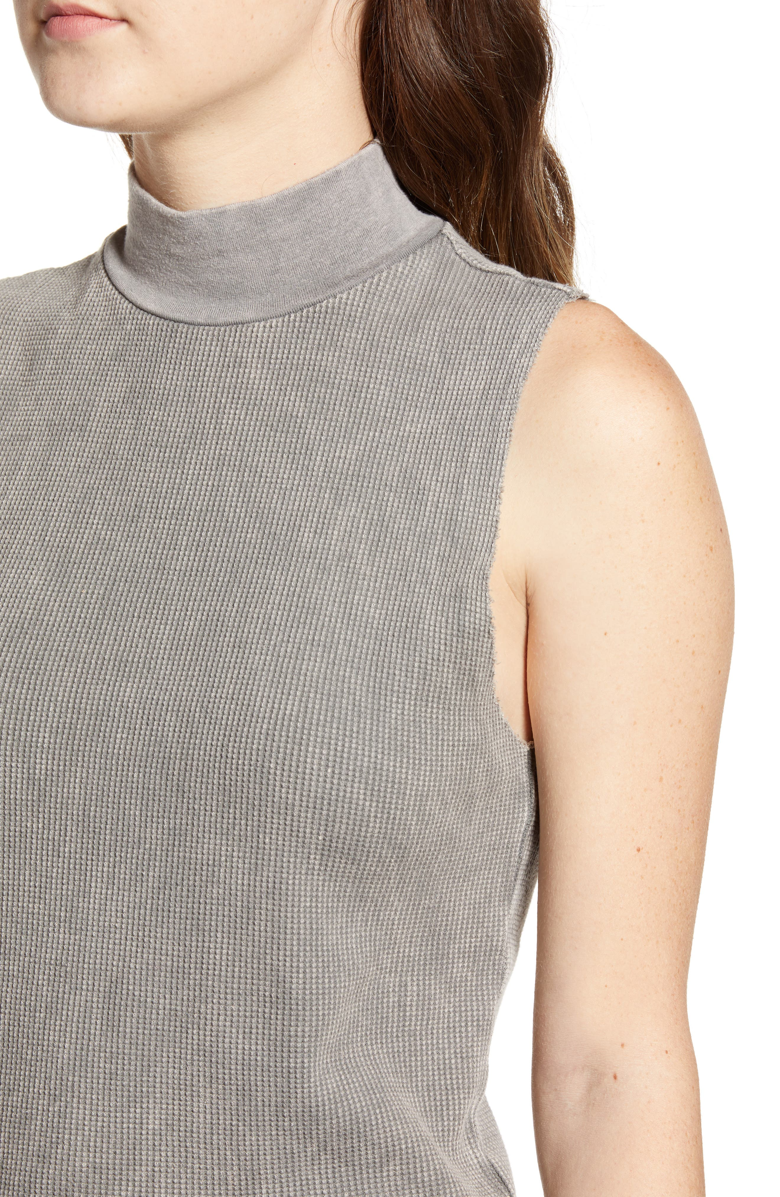 Annie Thermal Sleeveless Mock Neck Top,                             Alternate thumbnail 4, color,                             MW SMOKY NOIR