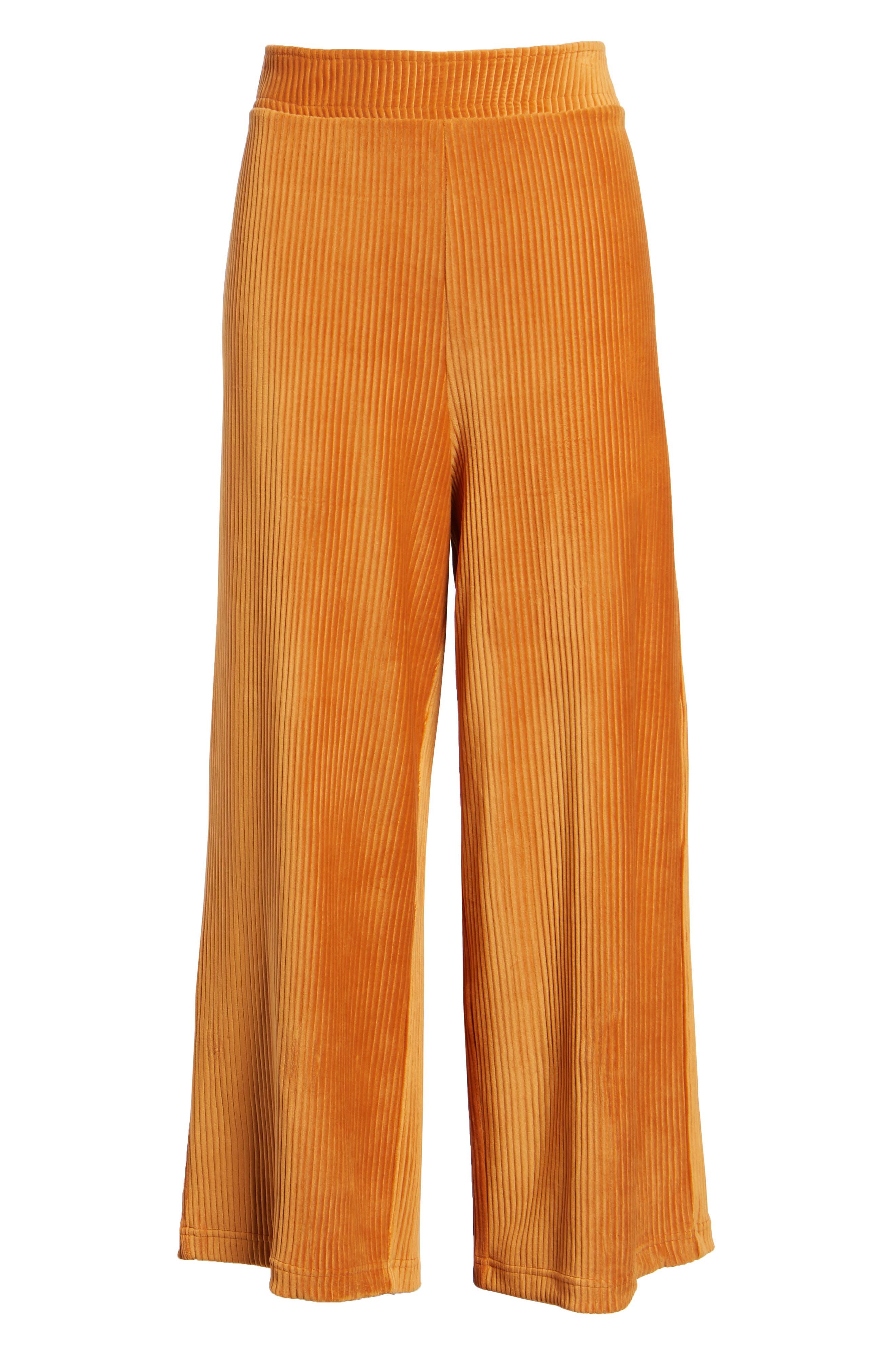 High Rise Knit Corduroy Crop Pants,                             Alternate thumbnail 8, color,                             RUST CIDER