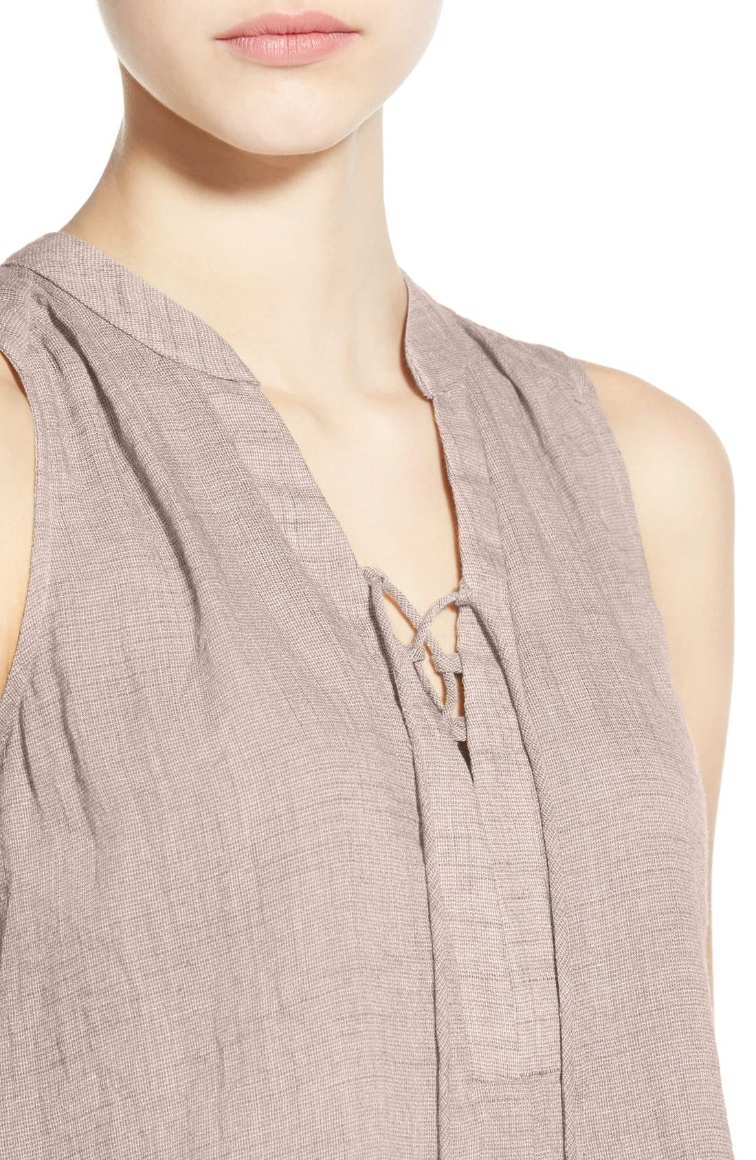 ---,                             Lace-Up Sleeveless Henley Top,                             Alternate thumbnail 3, color,                             020