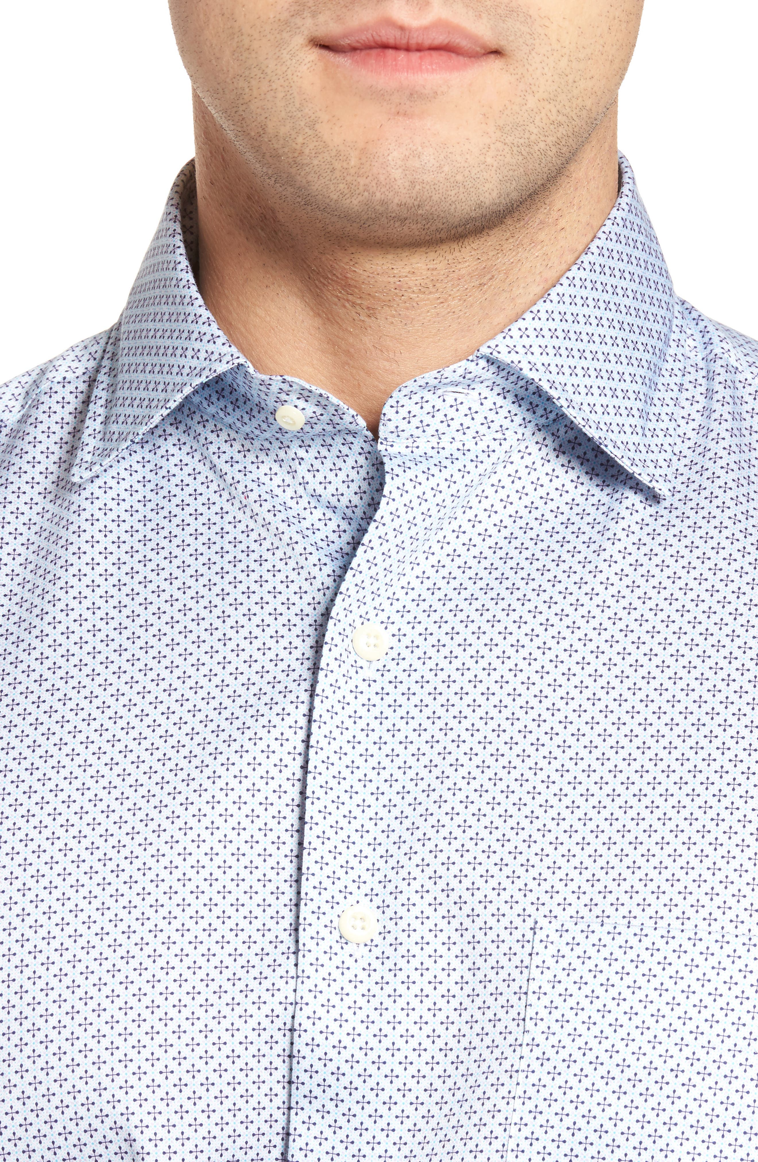 Flashback Classic Fit Print Sport Shirt,                             Alternate thumbnail 4, color,