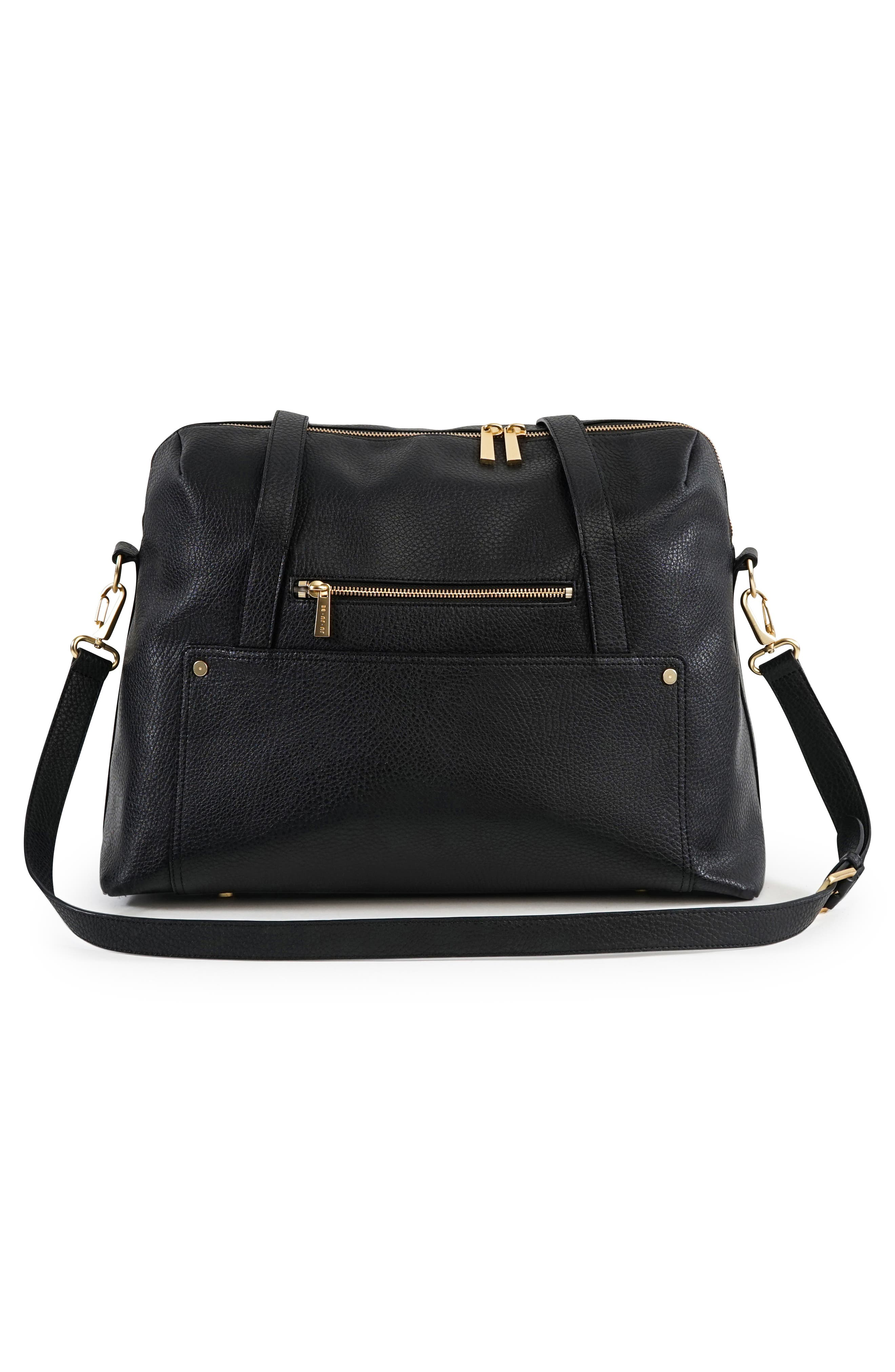 Ever Collection Wherever Faux Leather Weekend Diaper Bag,                             Alternate thumbnail 2, color,                             NOIR