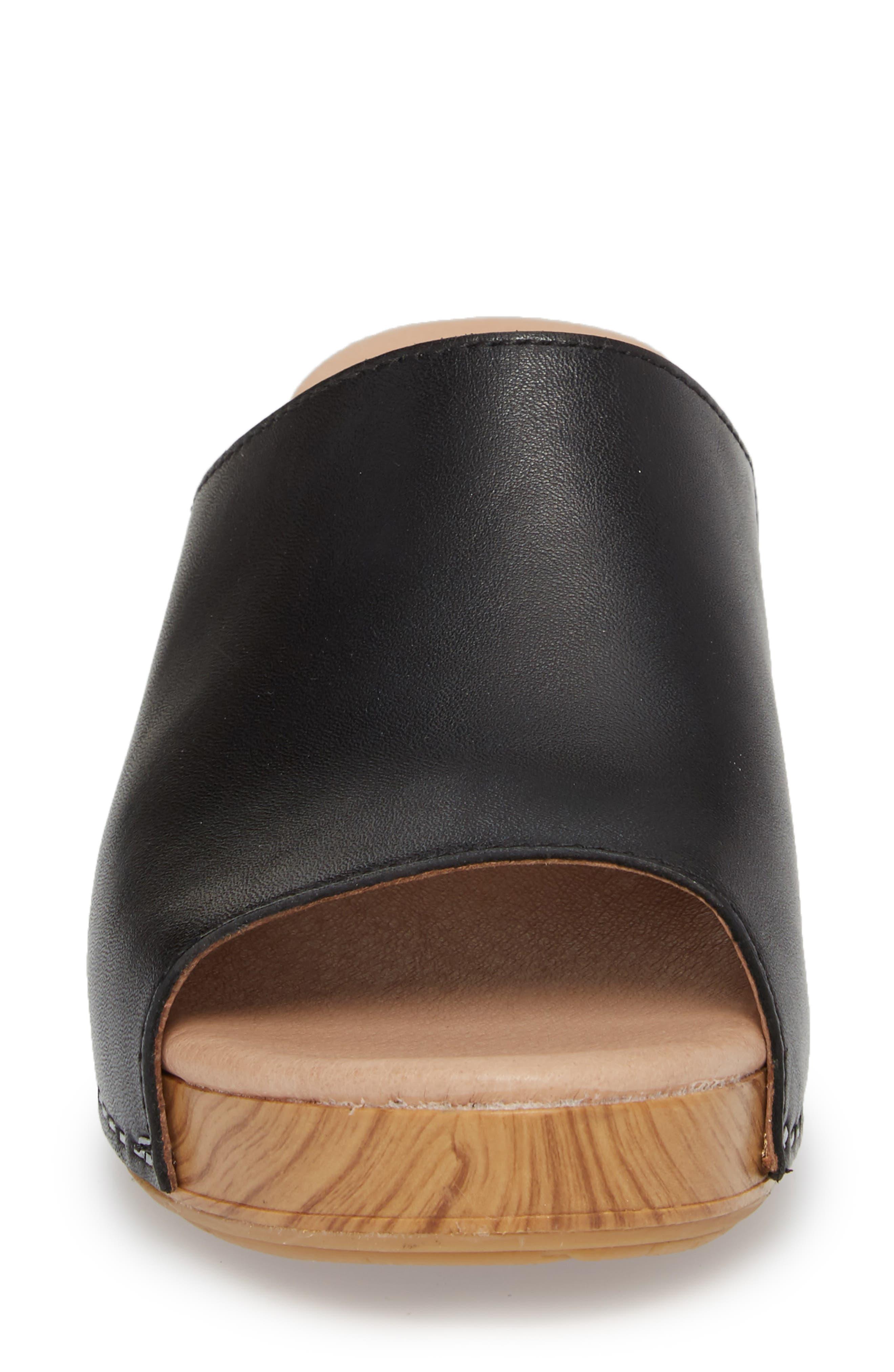 Maci Mule Sandal,                             Alternate thumbnail 4, color,                             BLACK LEATHER